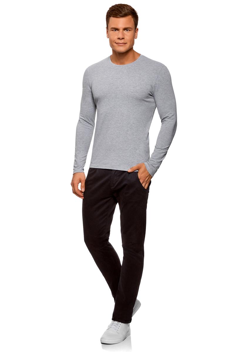 Лонгслив мужской oodji Basic, цвет: серый меланж, 2 шт. 5B512004T2/46737N/2300M. Размер L (52/54)