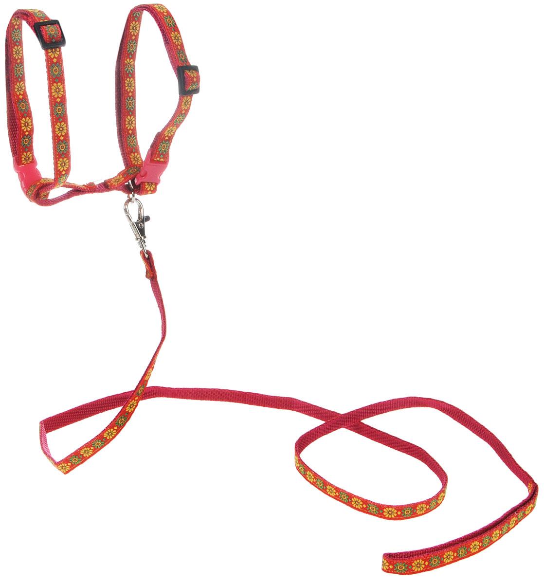 Комплект для кошек GLG Жаккард, цвет: красный, желтый, 2 предметаOH12/C_красныйКомплект для кошек GLG Жаккард включает в себя два предмета - шлейку и поводок, выполненные из нейлона. Шлейка снабжена пластиковыми застежками-фастекс и регуляторами длины. Поводок крепится к шлейке с помощью металлического карабина. Правильно подобранная шлейка не стесняет движения питомца, не натирает кожу, поэтому животное чувствует себя в ней уверенно и комфортно. Максимальный обхват шеи: 32 см.Максимальный обхват груди: 54 см.Длина поводка: 119 см.
