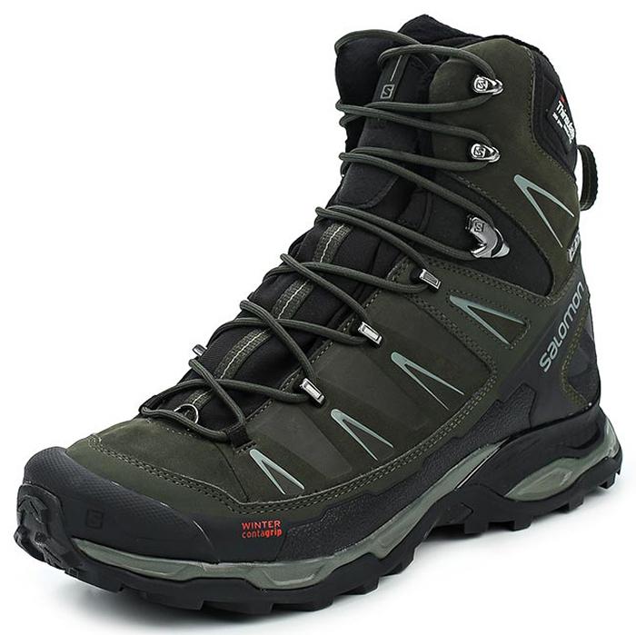 Ботинки трекинговые мужские Salomon X Ultra Winter CS WP, цвет: зеленый. L39850300. Размер 12,5 (46,5)L39850300Трекинговые мужские ботинки, выполненные из натуральной кожи и непромокаемой мембраны, прекрасно подойдут для походов и повседневной носки.Шнуровка надежно фиксирует модель на ноге. Легкая, поддерживающая стопу промежуточная подошва с шасси Advanced Chassis, непромокаемая конструкция и утеплитель Thinsulate сохранят тепло и сухость. Подошва с агрессивным рисунком готова к приключениям в любых условиях.