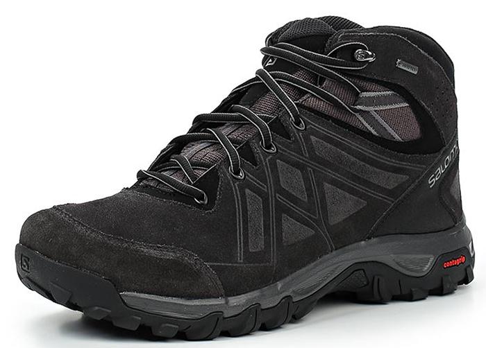 Ботинки трекинговые мужские Salomon Evasion 2 Mid LTR GTX, цвет: серый. L39871400. Размер 10,5 (44)L39871400Трекинговые мужские ботинки, выполненные из натуральной кожи и непромокаемой мембраны, прекрасно подойдут для походов и повседневной носки.Шнуровка надежно фиксирует модель на ноге. Средняя высота голенища дополнительно защищает и поддерживает лодыжку, что особенно важно на сильнопересеченной местности. Подошва с агрессивным рисунком готова к приключениям в любых условиях.