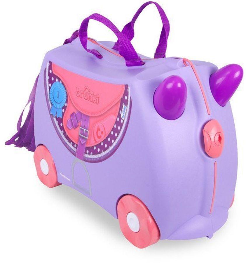 Trunki Чемодан детский Пони0185-GB01Детский чемодан Пони - восхитительная новинка от английского производителя детских чемоданов и дорожных аксессуаров! Чемоданы Trunki сделаны из прочного легкого пластика, что позволяет не только брать их с собой в путешествие, но даже кататься на них! Чемодан Пони станет прекрасным игровым спутником каждого маленького путешественника. Чемодан выполнен в красивом фиолетовом цвете, украшен изображением ковбойской сумочки и бахромой из текстиля. У чемоданчика есть забавные фиолетовые ручки в виде рожек, для того, чтобы ребенок мог держаться во время катания. Удобная прочная ручка из текстиля позволяет родителям возить чемодан или катать ребенка. Несмотря на забавный внешний вид, чемодан Транки очень прочен и функционален. Вместительная конструкция весит меньше 3 кг. Выемка в верхней части корпуса служит седлом для юных гонщиков, и мало какой ребёнок откажется от удовольствия прокатиться на таком необычном транспорте. Особенности чемодана Trunki: прочный легкий корпус с удобным сидением, широкие устойчивые колеса для перемещения и катания, прорезиненный мягкий обод вдоль отделений чемодана, надежный безопасный замок защищает от случайного раскрытия, специальный ремень с прочными карабинами позволяет легко перемещать чемодан и катать ребенка, ручки из пластика на корпусе чемодана позволяют ребенку держаться при перемещении. Чемоданы Trunki были созданы в Англии для того, чтобы малыши не скучали во время путешествий. В удобный вместительный чемодан можно заполнить необходимыми вехами, книгами и, конечно же, любимыми игрушками. Широкие устойчивые колеса позволяют не только перемещать чемодан, но и даже покататься на нем. Теперь при ожидании при регистрации или ожидании рейса вашему ребенку точно не будет скучно.