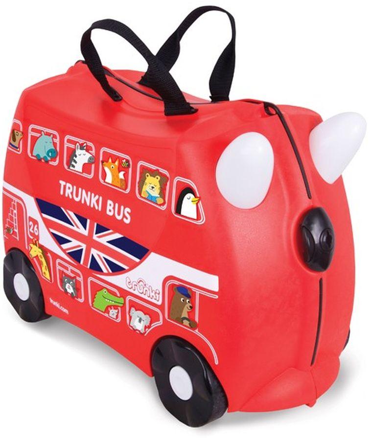 Trunki Чемодан детский Автобус0186-GB01-P4Детский чемодан Trunki Автобус - восхитительная новинка от английского производителя детских чемоданов и дорожных аксессуаров! Чемоданы Trunki сделаны из прочного легкого пластика, что позволяет не только брать их с собой в путешествие, но даже кататься на них! Чемодан Автобус станет прекрасным игровым спутником каждого ребенка. Чемодан выполнен в ярком красном цвете. У чемоданчика есть забавные красные ручки в виде рожек, для того, чтобы ребенок мог держаться во время катания. Удобная прочная ручка из текстиля позволяет родителям возить чемодан или катать ребенка. В комплекте с чемоданом есть комплект наклеек, с помощью которых малыш сможет рассадить забавных красочных животных в окошки автобуса, изображенные на корпусе чемодана. Таким образом, чемодан станет не только полезным и функциональным аксессуаром, но и интересным творческим набором. Особенности чемодана Trunki Автобус: прочный легкий корпус с удобным сидением, широкие устойчивые колеса для перемещения и катания, прорезиненный мягкий обод вдоль отделений чемодана, надежный безопасный замок защищает от случайного раскрытия, специальный ремень с прочными карабинами позволяет легко перемещать чемодан и катать ребенка, ручки из пластика на корпусе чемодана позволяют ребенку держаться при перемещении. Чемоданы Trunki были созданы в Англии для того, чтобы малыши не скучали во время путешествий. В удобный вместительный чемодан можно заполнить необходимыми вещами, книгами и, конечно же, любимыми игрушками. Широкие устойчивые колеса позволяют не только перемещать чемодан, но и даже покататься на нем. Теперь при ожидании при регистрации или ожидании рейса вашему ребенку точно не будет скучно. Вместительность: 18 литров. Вес чемодана: 1,7 кг. Максимальный вес нагрузки: 45 кг.