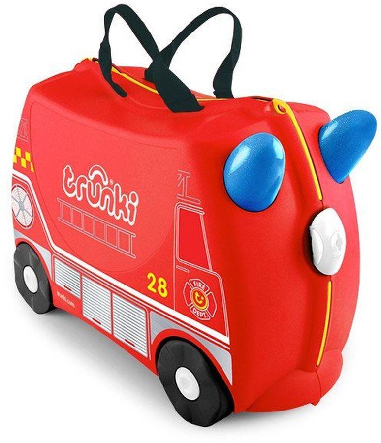 Trunki Чемодан детский Фрэнк0254-GB01Детский чемодан Trunki Фрэнк - восхитительная новинка от английского производителя детских чемоданов и дорожных аксессуаров!Чемоданы Trunki выполнены из прочного и легкого пластика, что позволяет не только брать их с собой в путешествие, но даже кататься на них! Чемодан в виде яркой пожарной машинки станет прекрасным игровым спутником каждого маленького путешественника. Чемодан выполнен в ярко-красном цвете, рисунок на нем имитирует внешний вид пожарной машины. Белые и желтые элементы на чемодане делают его более веселым и заметным.У чемоданчика имеются забавные синие ручки в виде рожек, для того, чтобы ребенок мог держаться во время катания. Удобная прочная ручка из текстиля позволяет родителям возить чемодан или катать ребенка. Несмотря на забавный внешний вид, чемодан очень прочен и функционален. Вместительная конструкция весит меньше 2 кг. Выемка в верхней части корпуса служит седлом для юных гонщиков, и мало какой ребенок откажется от удовольствия прокатиться на таком необычном транспорте.Чемоданы Trunki были созданы в Англии для того, чтобы малыши не скучали во время путешествий. Удобный вместительный чемодан можно заполнить необходимыми вещами, книгами и, конечно же, любимыми игрушками. Теперь при ожидании регистрации или рейса вашему ребенку точно не будет скучно!