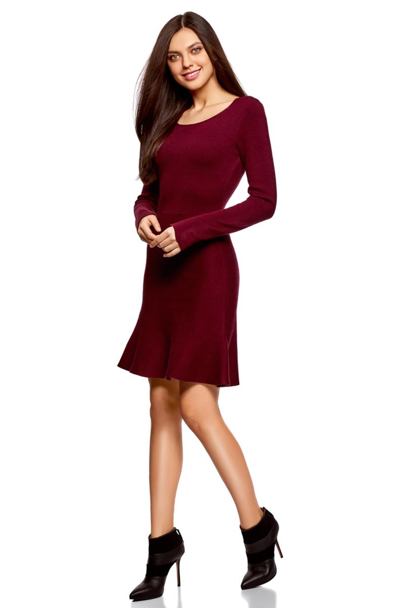 Платье oodji Ultra, цвет: бордовый. 63912223/46096/4900N. Размер XS (42)63912223/46096/4900NВязаное платье от oodji выполнено из пряжи сложного состава. Модель выше колен с расклешенным низом, длинными рукавами и круглым вырезом горловины.
