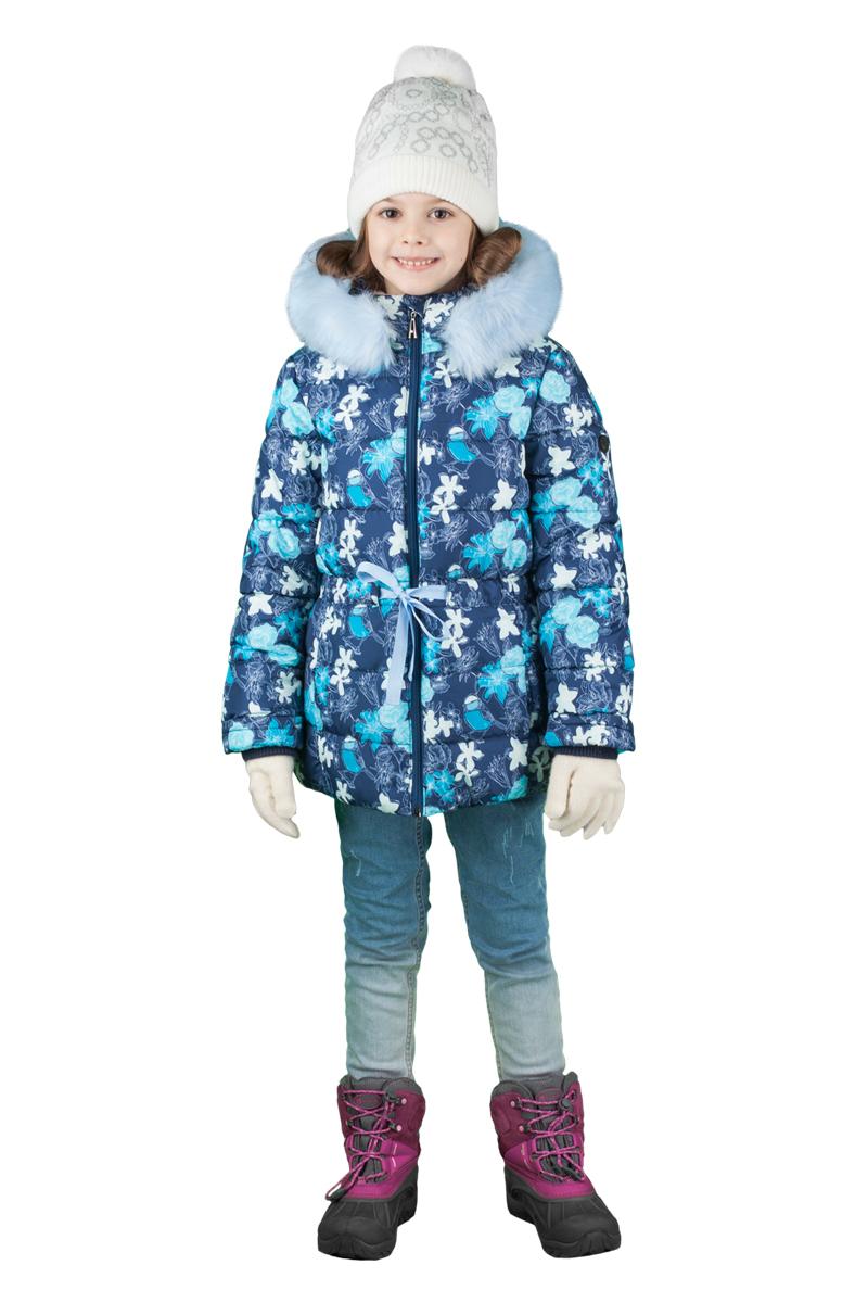 Куртка для девочки Boom!, цвет: темно-синий. 70472_BOG_вар.2. Размер 116, 5-6 лет70472_BOG_вар.2Куртка для девочки Boom! идеально подойдет для вашего ребенка в холодное время года. Модель изготовлена из высококачественного материала с трендовым принтом. Куртка дополнена капюшоном с меховой опушкой. Кулиска с яркой репсовой лентой не только защищает от холодного зимнего ветра, но и является оригинальной дизайнерской деталью. Светоотражающие элементы не оставят вашего ребенка незамеченным в темное время суток. Теплая, комфортная и практичная куртка идеально подойдет для прогулок и игр на свежем воздухе!