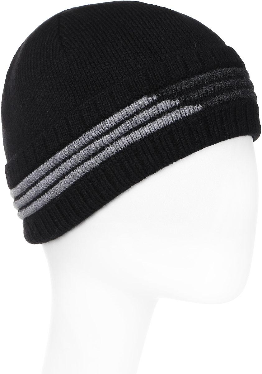 Шапка мужская Marhatter, цвет: черный. Размер 56/58. 38043804Великолепная шапка со стильными полосами. Модель очень теплая: полушерстяная пряжа самого высокого качества и подкладка из флиса.