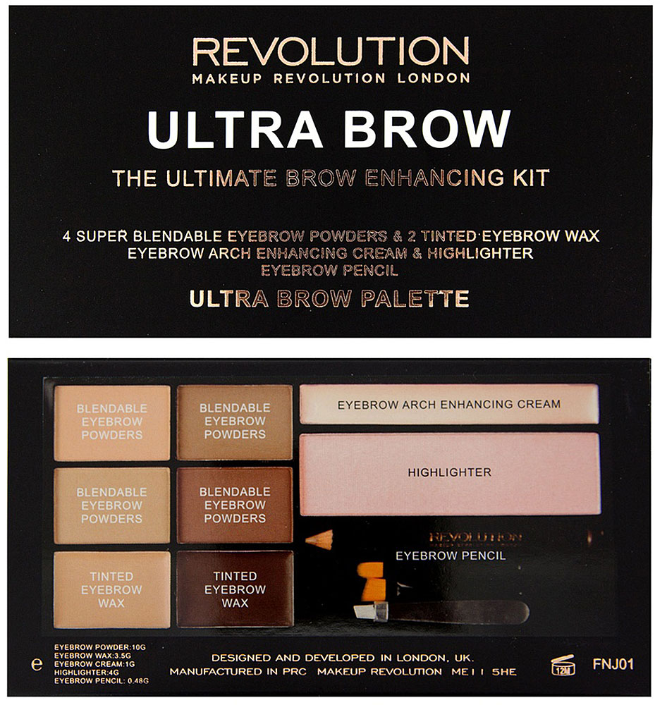 Makeup Revolution Набор для бровей Ultra Brow Palette, Fair to Medium для глаз makeup revolution ultra brow palette fair to medium цвет fair to medium variant hex name ae9383