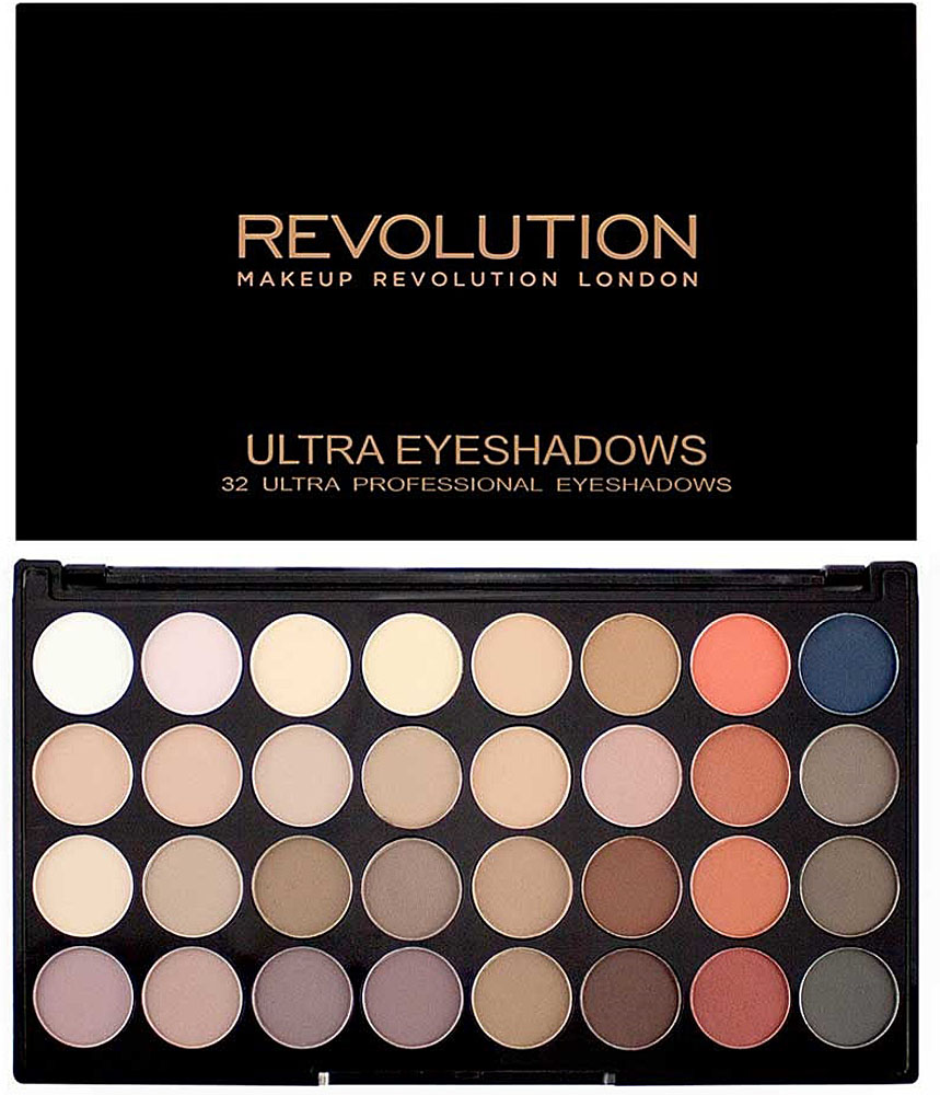 Makeup Revolution Набор из 32 теней 32 Eyeshadow Palette, Flawless Matte 2 too faced matte chocolate chip палетка матовых теней matte chocolate chip палетка матовых теней