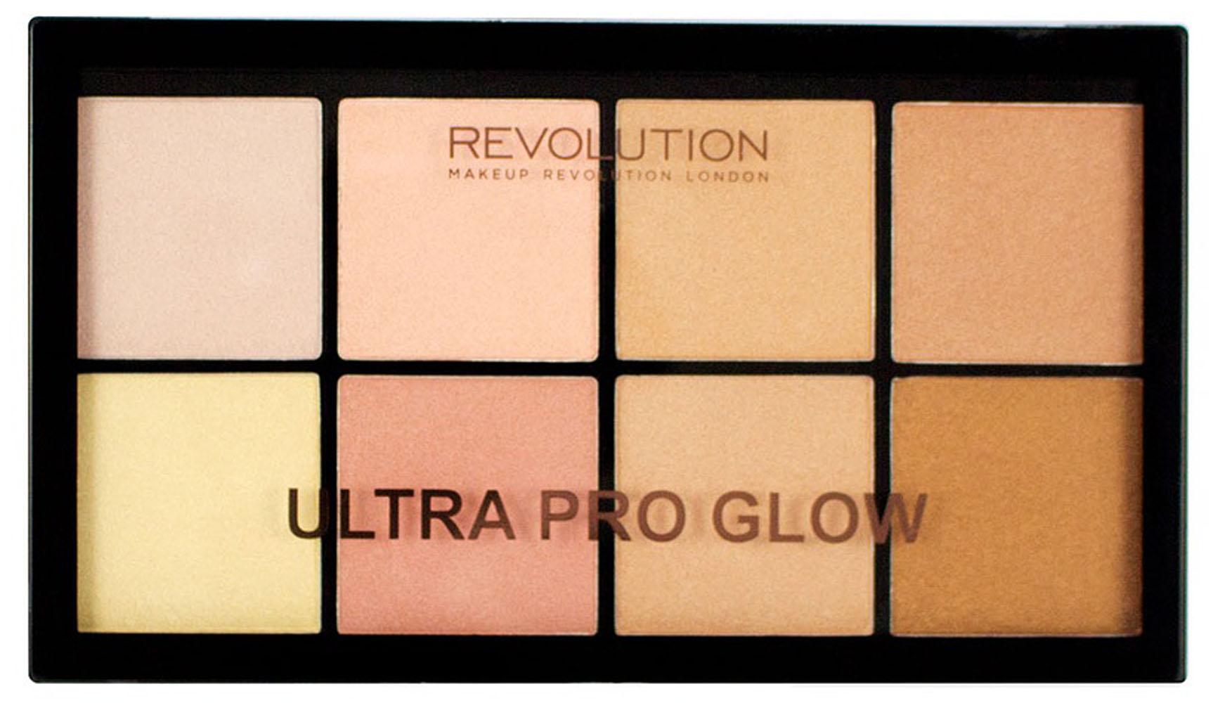 Makeup Revolution Набор хайлайтеров, Ultra Pro Glow94049Это подарок для фанатов хайлайтеров! Это для тебя! 8 удивительных оттенков в одной палитре, интенсивных и сияющих. Найдите свой идеальный оттенок и плотность, или смешайте несколько оттенков, создавая еще больше способов сиять. Мягкая, кремовая, деликатная формула, создает эффект сияния изнутри.
