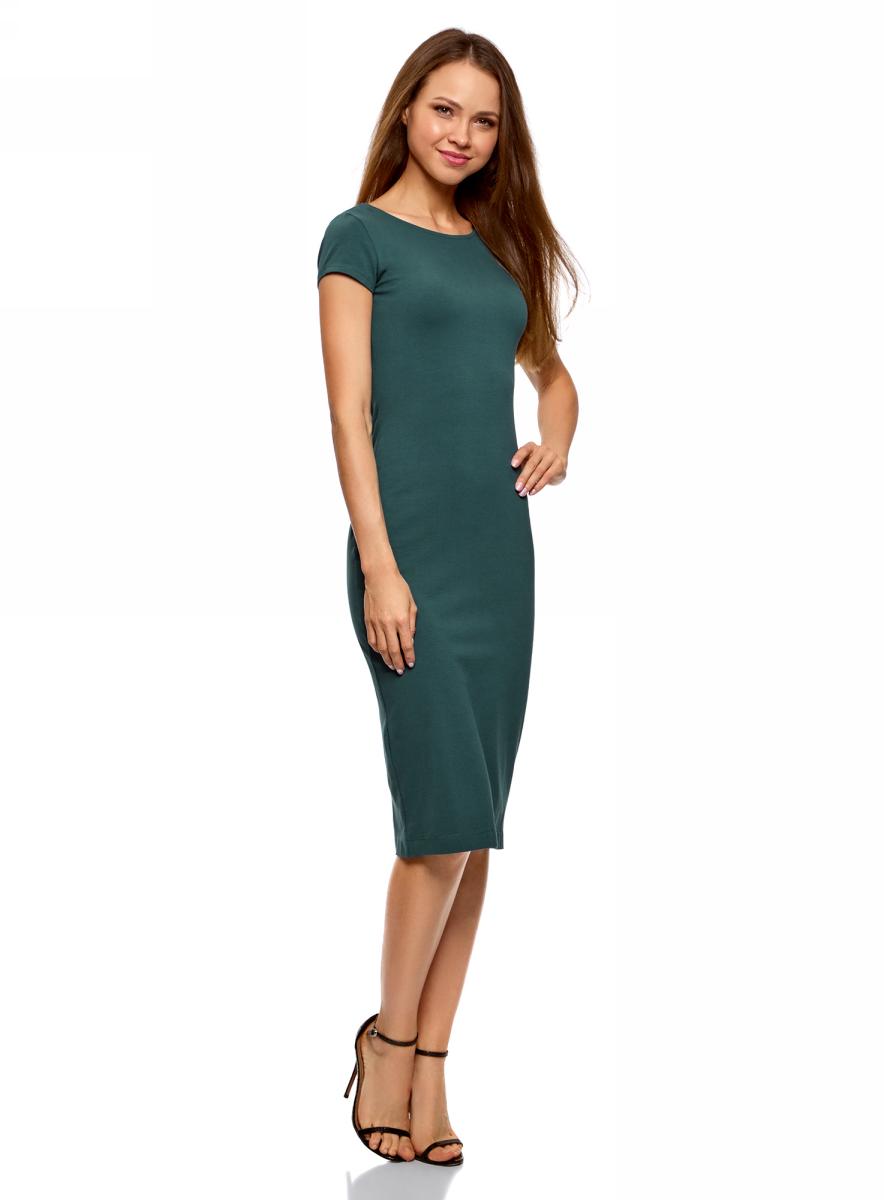 Платье oodji Collection, цвет: зеленый. 24001104-5B/47420/6C00N. Размер S (44)24001104-5B/47420/6C00NСтильное платье oodji изготовлено из качественного материала на основе хлопка. Облегающая модель с круглой горловиной и короткими рукавами. Спинка выполнена с глубоким круглым вырезом.