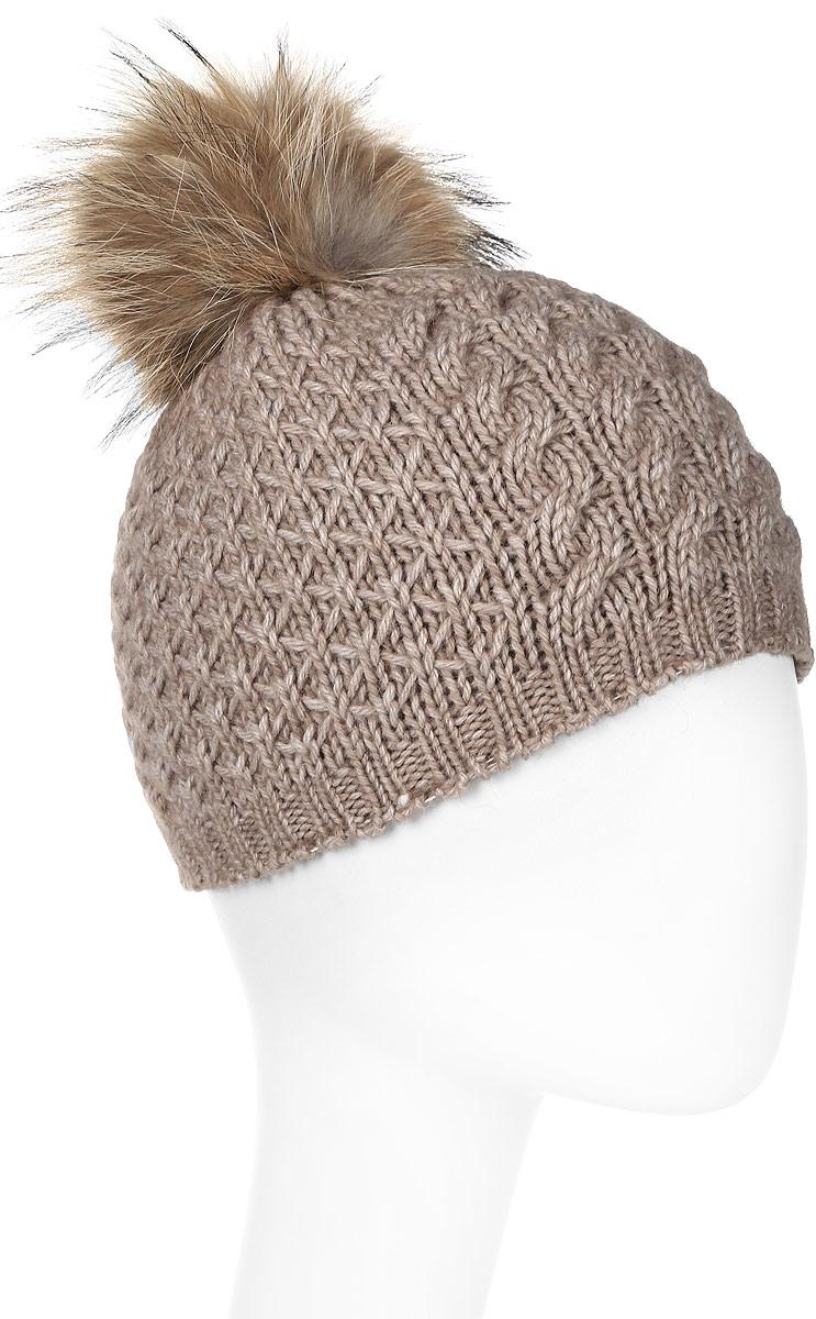 Шапка женская Marhatter, цвет: бежевый. Размер 56/58. MWH6754/2MWH6754/2Стильная шапка с помпоном из натурального меха, выполнена из ангоровой пряжи. Модель очень актуальна для тех, кто ценит комфорт, стиль и красоту.