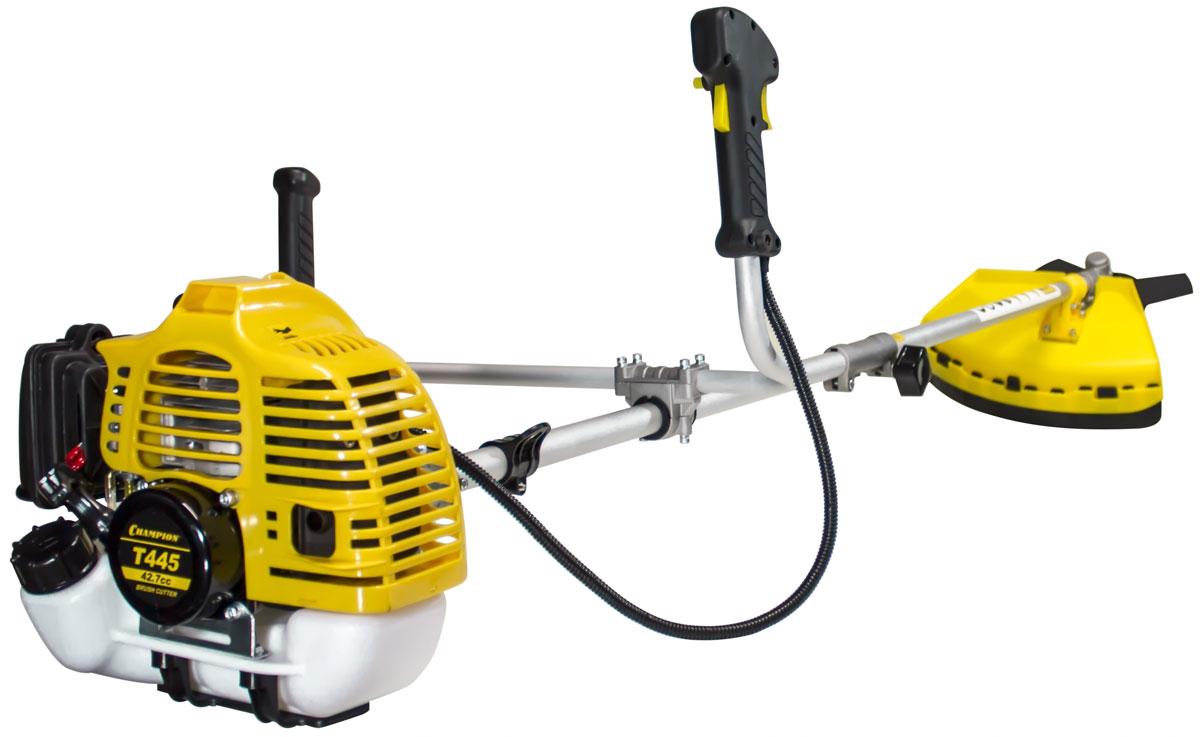 Триммер Champion Т445T445Бензиновый триммер компании Champion T445-2 – современная модель, которая поможет привести в порядок ваш сад и облагородить территорию у дома. Триммер оснащен надежным бензиновым двигателем, который не требует к себе особого внимания. Топливный бак объемом 1.0 литра позволяет использовать триммер при интенсивной работе, без остановок на дозаправку. Эргономичные рукоятки надежно сидят в руке, обеспечивая удобное управление аппаратом, исключая соскальзывание. Разборная штанга позволяет без проблем осуществлять транспортировку и хранение. Триммер поместиться в багажник даже самого маленького автомобиля. Купив данную модель, вы приобретете надежный инструмент, который порадует вас своим качеством и высокой производительностью.Особенности: ширина среза, мм леска/нож - 400/255длина штанги, мм - 1343Стартер с функцией лёгкого запускаВ комплекте:косильная головка, 3-х лопастной нож, ремень, ёмкость для смешивания топлива.