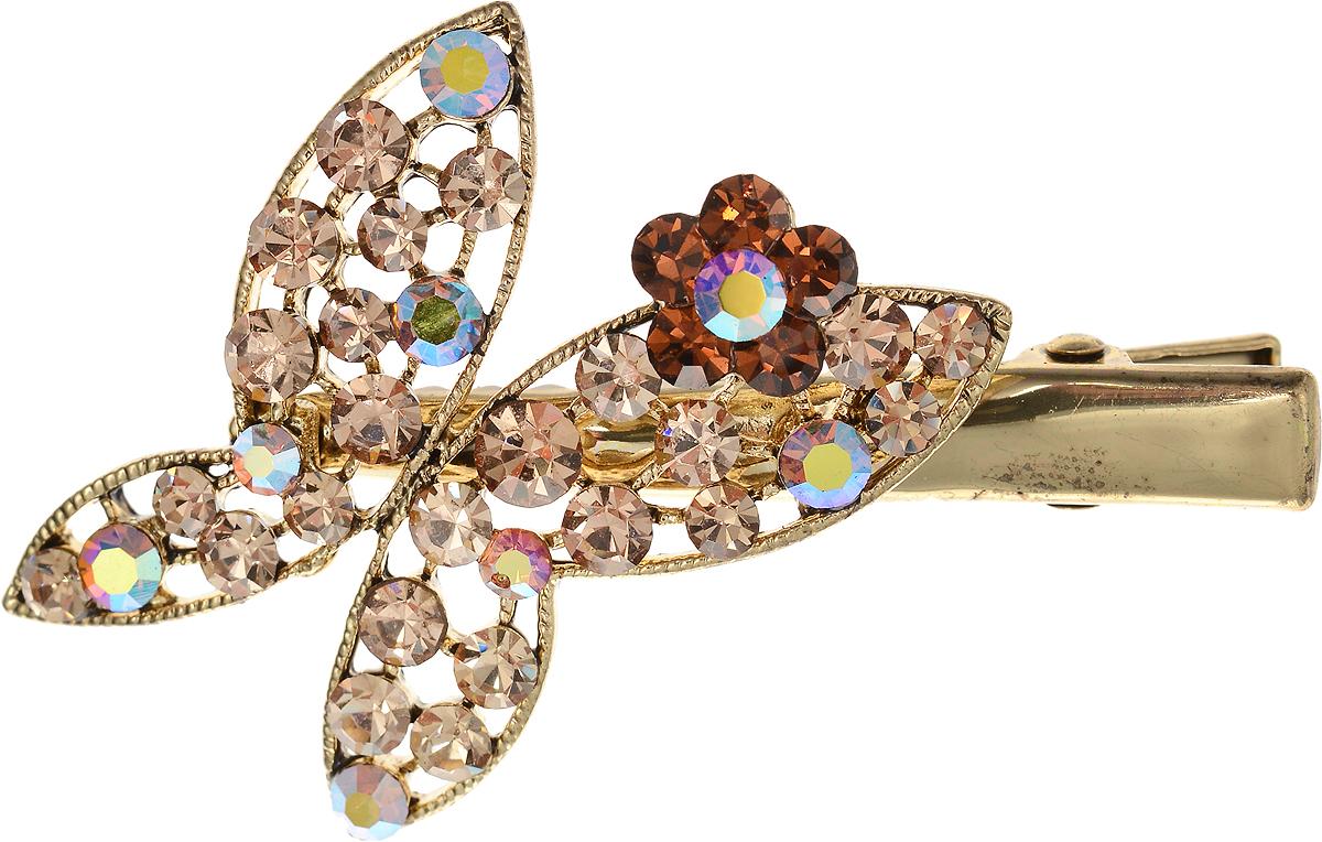 Заколка для волос от D.Mari. Кристаллы Aurora Borealis, кристаллы золотистого цвета, бижутерный сплав золотого тона. Гонконгpokka-4285-8-2Заколка для волос от D.Mari.Кристаллы Aurora Borealis, кристаллы золотистого цвета, бижутерный сплав золотого тона.Гонконг.Размер - 6 х 3,5 см.