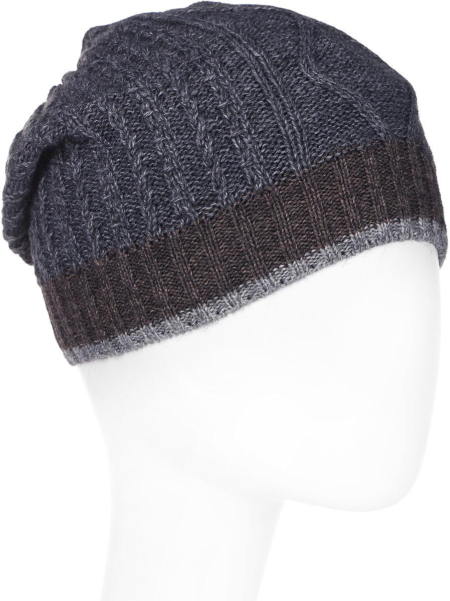 Шапка мужская Marhatter, цвет: темно-серый, коричневый. Размер 57/59. MMH6879/2MMH6879/2Отличная вязаная шапка в стиле сasual. Модель прекрасно подойдет активным молодым людям, ценящим комфорт и удобство. Идеальный вариант на каждый день.