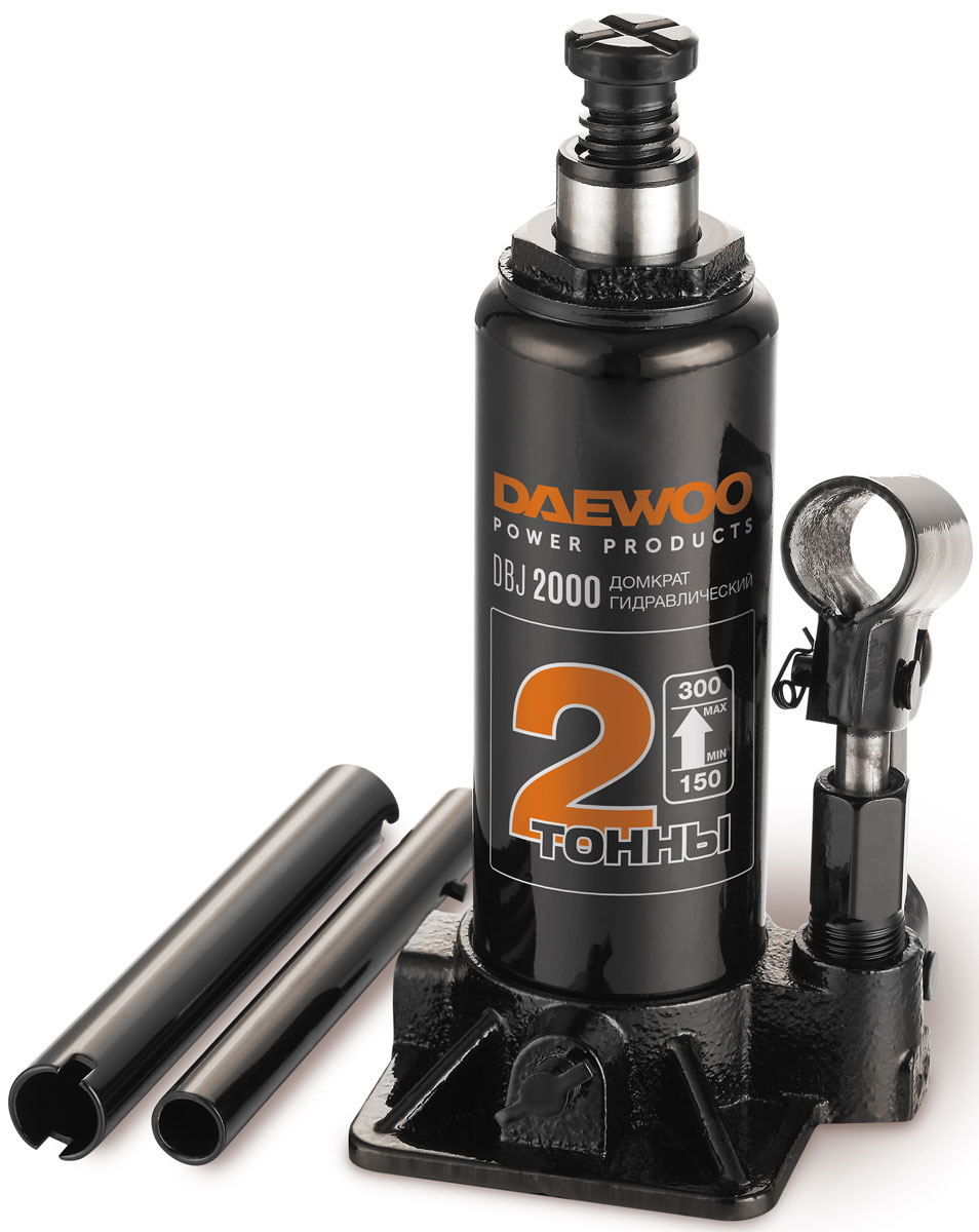 Домкрат бутылочный Daewoo, 2 тDBJ2000Домкрат гидравлический бутылочный.Грузоподъёмность 2тВысота подхвата 150 ммХод штока 80 ммХод выдвижного винта 55 ммВысота подъёма 300 мм