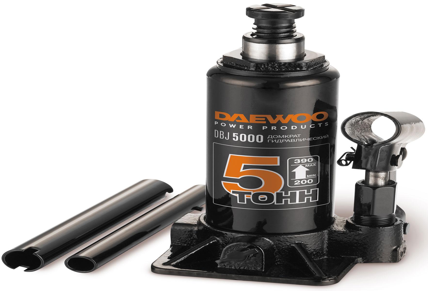 Домкрат бутылочный Daewoo, 5 тDBJ5000Домкрат гидравлический бутылочный.Грузоподъёмность 5тВысота подхвата 200 ммХод штока 125 ммХод выдвижного винта 60 ммВысота подъёма 390 мм