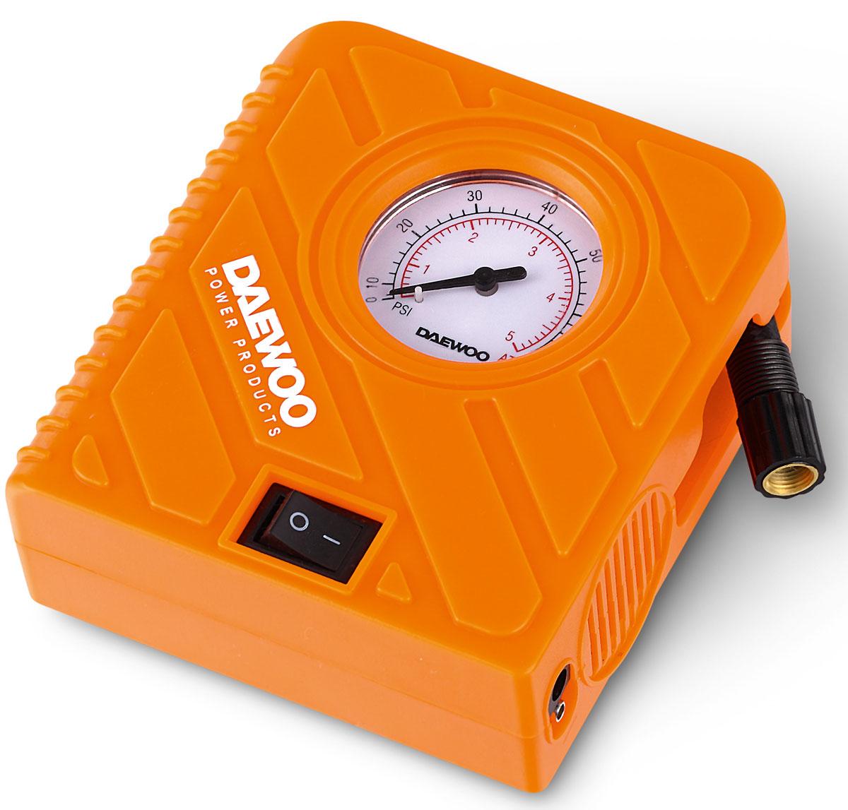 Компрессор автомобильный Daewoo, 20 л/минDW20LКомпрессор DAEWOO DW20L - 20 л/минПроизодительность 20 л/минМаксимальное давление: 5 атмВремя накачивания колеса R15/195/60: 7 мин.Время непрерывной работы: 15 минДлина шланга: 15 смДлина провода: 300 смФонарь: даПредохранитель: 15АТип подключения: штекерСумка