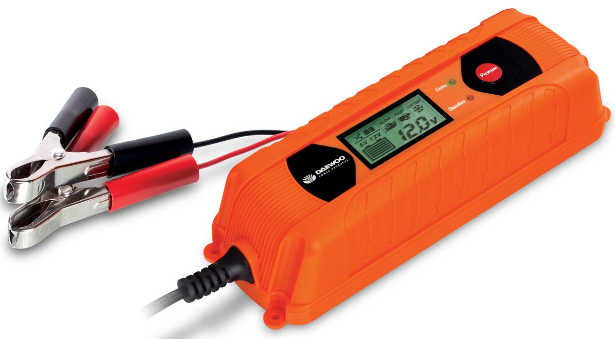Зарядное устройство Daewoo. DW450DW450220В, выходное напряжение 6/12В, ток 4А, LED дисплей, емкость аккумулятора до 120Ач, 6 ступеней зарядки, тест АКБ