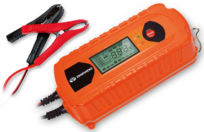 Зарядное устройство Daewoo. DW800DW800220В, выходное напряжение 6/12В, ток 8А, LED дисплей, емкость аккумулятора до 160Ач, 9 ступеней зарядки, имитация АКБ, тест и восстановление АКБ, с подвесом, одностороннее расположение проводов