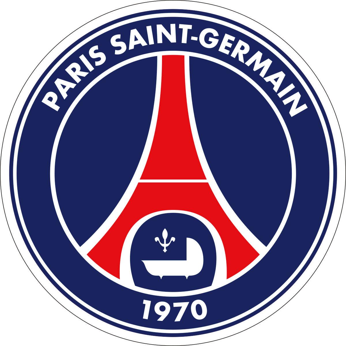 Наклейка автомобильная Оранжевый слоник Paris-Saint-Germain, виниловая, цвет: синий, красный