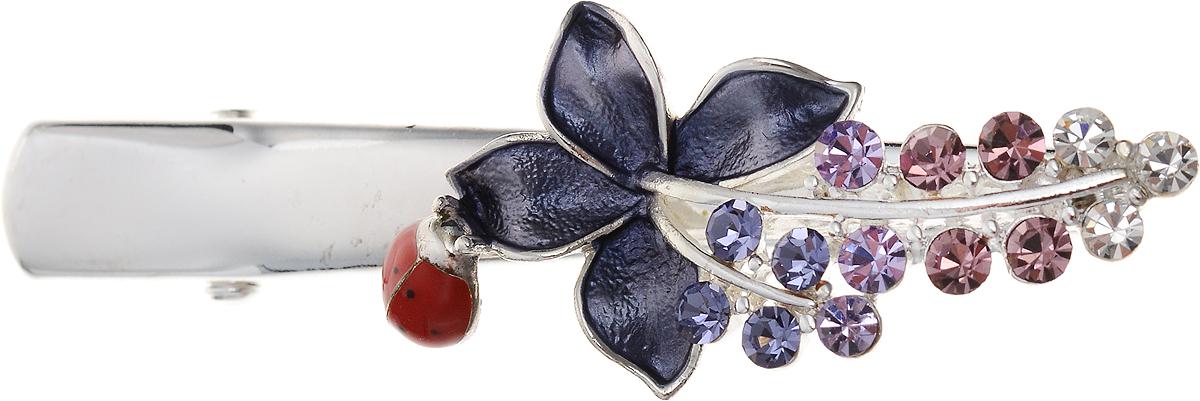 Заколка для волос от D.Mari. Разноцветные кристаллы, цветные эмали, бижутерный сплав серебряного тона. Гонконгpokka-4285-3-2Заколка для волос от D.Mari.Разноцветные кристаллы, цветная эмаль, бижутерный сплав серебряного тона.Гонконг.Размер - 6 х 2 см.