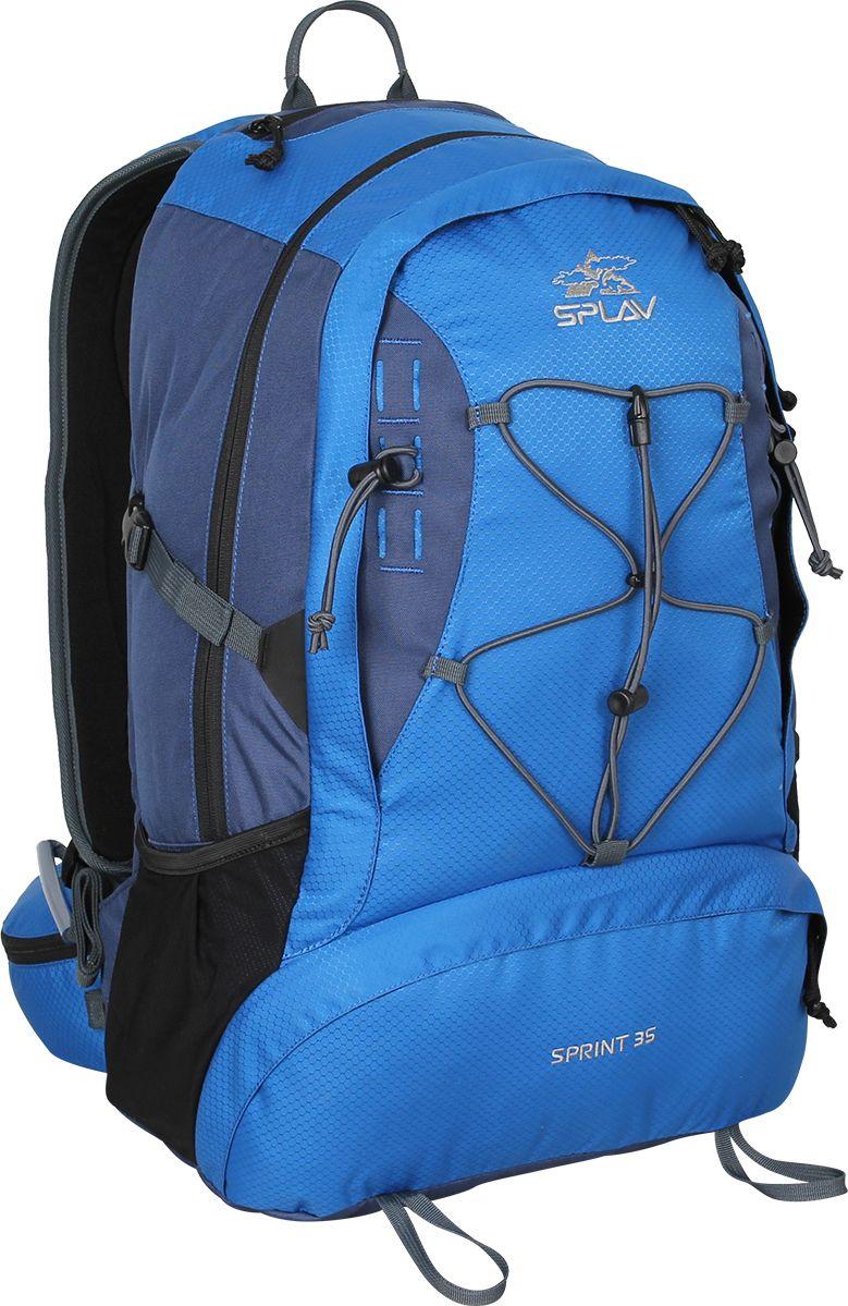 Рюкзак городской Сплав Sprint 35, цвет: синий, черный, 35 л5020760Легкий функциональный рюкзак Сплав Sprint 35 в спортивном стиле, изготовленный из Polyester 600D / Honeycomb 300D R/S, отлично подойдет для городской носки.Термоформированная объемная спинка обеспечивает необходимую вентиляцию и жесткость.Изделие имеет одно основное отделение, которое застегивается на застежку-молнию. Фронтальный карман выполнен на молнии и оснащен внутри небольшим органайзером для мелочей.Рюкзак дополнен двойным скрытым кармашком для документов и мелочей.Плоские анатомические лямки изготовлены для лучшего прилегания, они дополнены платформой молле для крепления дополнительных подсумков.Удобный пояс с объемными карманами.Конструкция рюкзака имеет возможность для дополнительной навески скального и ледового инструмента.На груди имеется съемная стяжка.Большой карман с входом со спины.Объем: 35 л.Вес: 1,4 кг.