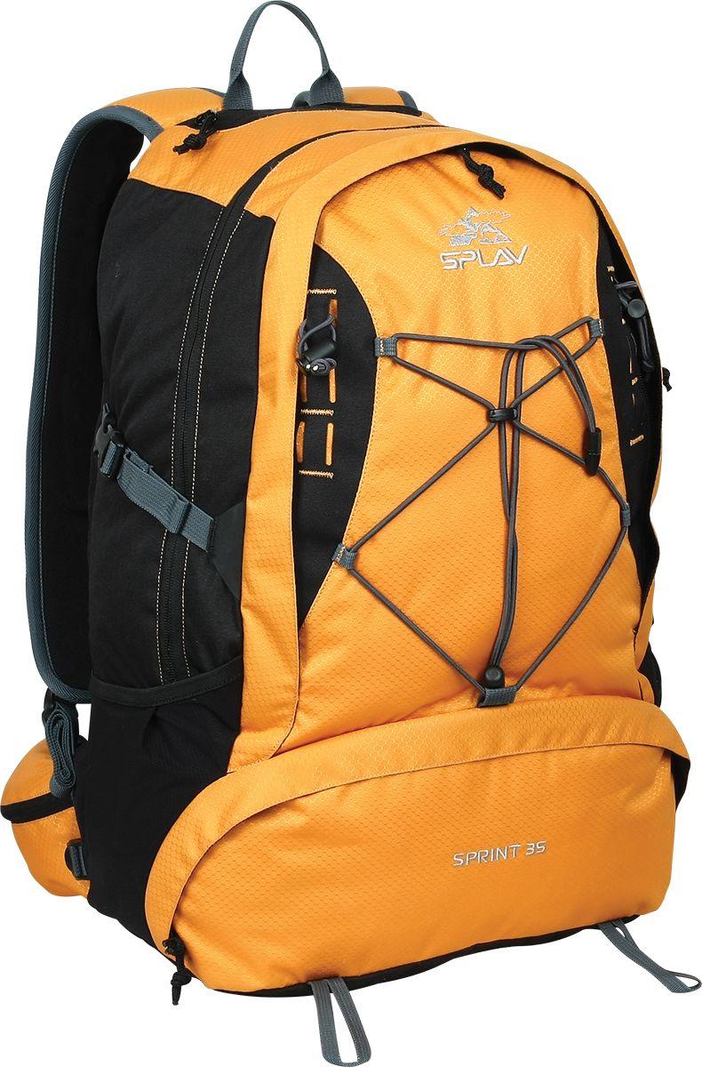 Рюкзак городской Сплав Sprint 35, цвет: оранжевый, черный, 35 л5020775Легкий функциональный рюкзак Сплав Sprint 35 в спортивном стиле, изготовленный из Polyester 600D / Honeycomb 300D R/S, отлично подойдет для городской носки.Термоформированная объемная спинка обеспечивает необходимую вентиляцию и жесткость.Изделие имеет одно основное отделение, которое застегивается на застежку-молнию. Фронтальный карман выполнен на молнии и оснащен внутри небольшим органайзером для мелочей.Рюкзак дополнен двойным скрытым кармашком для документов и мелочей.Плоские анатомические лямки изготовлены для лучшего прилегания, они дополнены платформой молле для крепления дополнительных подсумков.Удобный пояс с объемными карманами.Конструкция рюкзака имеет возможность для дополнительной навески скального и ледового инструмента.На груди имеется съемная стяжка.Большой карман с входом со спины.Объем: 35 л.Вес: 1,4 кг.