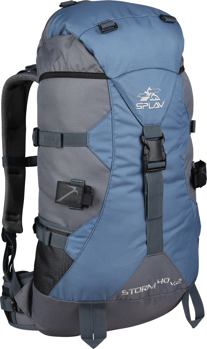 Рюкзак туристический Сплав Storm 40 v.2, цвет: синий, серый, 40 л5026960Легкий надежный, универсальный рюкзак Сплав Storm 40 v.2, изготовленный из материала Polyester 600D, идеально подойдет для туризма и спорта.Лямки изготовлены с анатомическими швами.Сетка Air mesh улучшает внутреннюю вентиляцию.Мягкий удобный пояс для оптимального распределения нагрузки, имеет два кармашка для мелочей.Фиксированный клапан с карманом для документов.Рюкзак оформлен грудной стяжкой, а также боковыми стяжками, по две с каждой стороны.Нижние боковые карманы из сетки выполнены для фиксирования длинномерных грузов.На рюкзаке имеются крепления для скально-ледового снаряжения.Возможна установка питьевой системы (в комплект не входит!). Объем: 40 л.Вес: 1,39 кг.Основное отделение (ШхВхТ), см: 30 х 54 х 21.Карман верхнего клапана (ШхВхТ), см: 24 х 11 х 20.