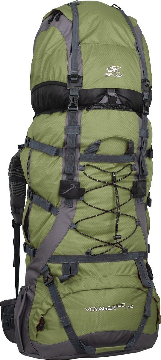 Рюкзак туристический Сплав Voyager 130 v.2, цвет: зеленый, серый, 130 л5027150Универсальный экспедиционный рюкзак. Отлично подойдет для всех видов туризмаПрофилированные дюралевые латы. За счет специального профиля лат рюкзак обретает повышенную жесткость при меньшем весеВ верхней части спины расположена вогнутая внутрь рюкзака объемная деталь с мягкой вставкой и жестким фиксирующим элементом, обеспечивающая больше свободного места для головыСъемный клапан имеет дополнительный карман для документов и легко трансформируется в поясную сумкуБоковые карманы изменяемого объема. Трапециевидные ограничители в верхней и нижней «раскрываемой» части карманов позволят снять повышенную нагрузку в этих узлах при максимальной набивке карманов, а дополнительные планки надежно защитят молнии карманов от внешнего воздействияДвойная затяжка пояса позволит максимально эффективно зафиксировать рюкзак на бедрахУдобные объемные карманы на поясеЯчейки на лямках рюкзака позволят разместить рацию, GPS или другое оборудование, а также закрепить дополнительные подсумки в максимально удобных для быстрого доступа местахСистема крепления груза на клапане и передней поверхности рюкзакаКрепления для скально-ледового снаряжения. Объем: 130 лВес: 3,21 кгОсновное отделение (Ш х В х Т): 50 х 82 х 22 смКарман верхнего клапана (Ш х В х Т): 50 х 30 х 22 смИспользуемые ткани: Polyester 600D / 450D R/S - Синий, ЗелёныйPolyester 600D / Honeycomb 300D R/S - БордоПластиковая фурнитура: YKK