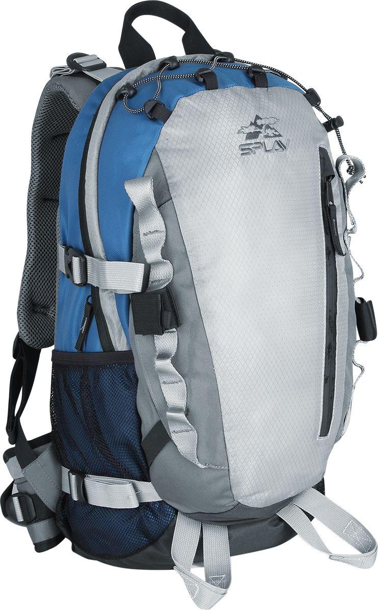Рюкзак спортивный Сплав Zion, цвет: синий, серый, 35 л5028560Штурмовой рюкзак Сплав Zion предназначен для трекинга, мультиспорта и восхождений в альпийском стиле.Рюкзак изготовлен из качественного Polyester 420D / Diamomd 210D R/S / 600D. Пластиковая вставка в спине, в сочетании со съемной дюралевой латой создают достаточно жесткую и удобную спину.Мягкие валики с сеткой AirMesh на спине обеспечивают хорошую вентиляцию.Благодаря особой конструкции пояс рюкзака надежно сидит на бедрах, эффективно перераспределяет нагрузку.Основное отделение рюкзака застегивается на застежку-молнию и дополнено удобными втачными карманами. Фронтальный вход на молнии обеспечивает быстрый и легкий доступ к вещам и снаряжению.Объемный фронтальный карман закрыт влагозащитной молнией.Две точки для крепления ледового или скального инструмента.Петли на поясе для размещения карабинов или скального снаряжения.Две стропы на фасаде для развески карабинов.Накидка от дождя расположена в кармане на дне рюкзака.Совместим с питьевыми системами.Объем: 35 л.Вес: 1,5 кг.
