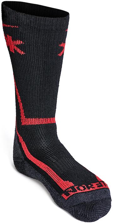 Термоноски мужские Norfin Arctic Merino Heavy T4M, цвет: черный, красный. 303805. Размер L (42/44)303805Носки Norfin Arctic Merino Heavy T4M из плотной толстой пряжи рекомендуются для средней активности, когда важно сохранить ноги сухими и теплыми. Толстая вязка из шерсти Мериноса обеспечивает великолепную термоизоляцию в холодную погоду. Для экстремально холодной погоды и средней активности.Плоские швы. Специальная зональная вязка.Термоноски износостойкие.