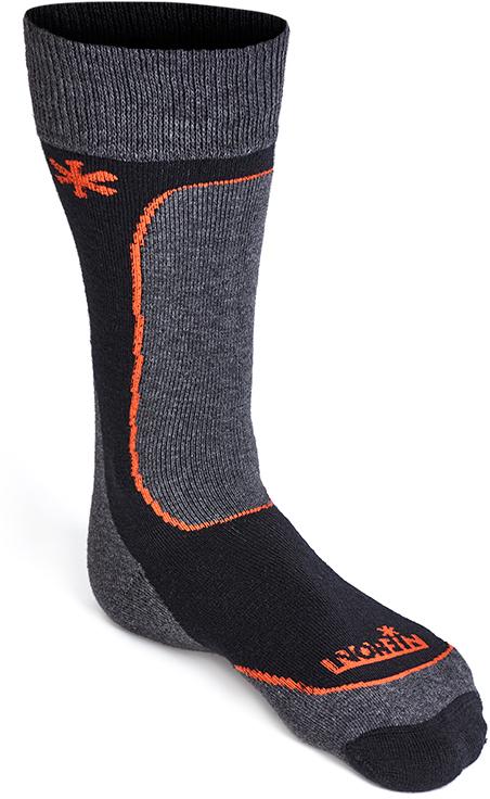 Термоноски мужские Norfin Nordic Merino Midweight T3M, цвет: черный, серый, оранжевый. 303901. Размер M (39/41)303901Носки Norfin Nordic Merino Midweight T3M средней плотности вязки по специальной технологии обеспечивают свободу и максимальный комфорт стопам ног. Шерсть Мериноса обеспечивает великолепную термоизоляцию и комфорт при носке. Для очень холодной погоды и средней активности.Не сдавливают стопу. Плоские швы. Не натирают ноги.