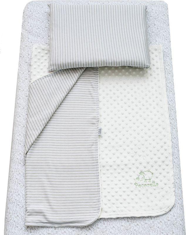 Pecorella Комплект в кроватку Silver Stars 3 предмета2000000002156Комплект постельного белья из 100% хлопка для детей с рождения до 4 лет. Простыня на резинке универсальная, подходит для матраса (120x60 см, высотой до 20 см) сохранит форму, ощущение чистоты и порядка в детской кровати. Плед (90х120 см) из велюра с одной стороны и трикотажа с другой способствует приятным тактильным ощущениям. Наволочка из хлопковой ткани (50х30 см).