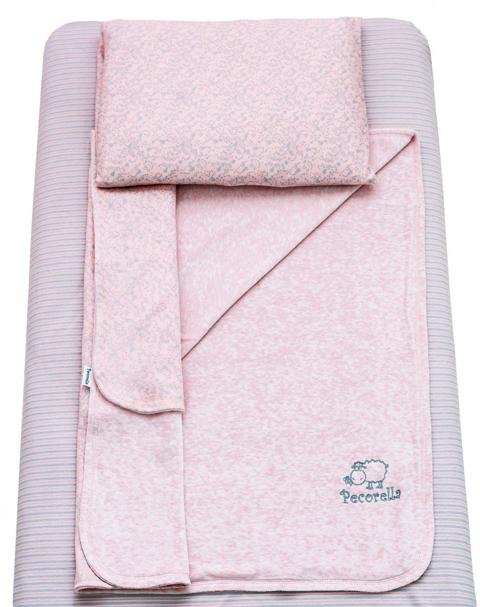 Pecorella Комплект в кроватку Нежная пенка 3 предмета397988Комплект постельного белья из 100% хлопка для детей с рождения до 4 лет. Простыня на резинке универсальная, подходит для матраса (120x60 см, высотой до 20 см) сохранит форму, ощущение чистоты и порядка в детской кровати. Плед (90х120 см) из велюра с одной стороны и трикотажа с другой, способствует приятным тактильным ощущениям. Наволочка из хлопковой ткани (50х30 см).