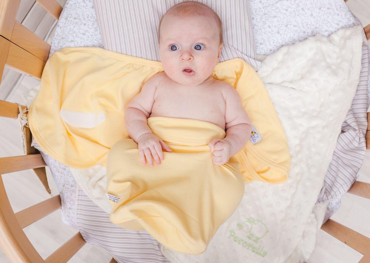 Pecorella Пеленка на липучках SwaddleFun Mid Yellow Размер M 2,5-6,5 кг для крещения пеленка