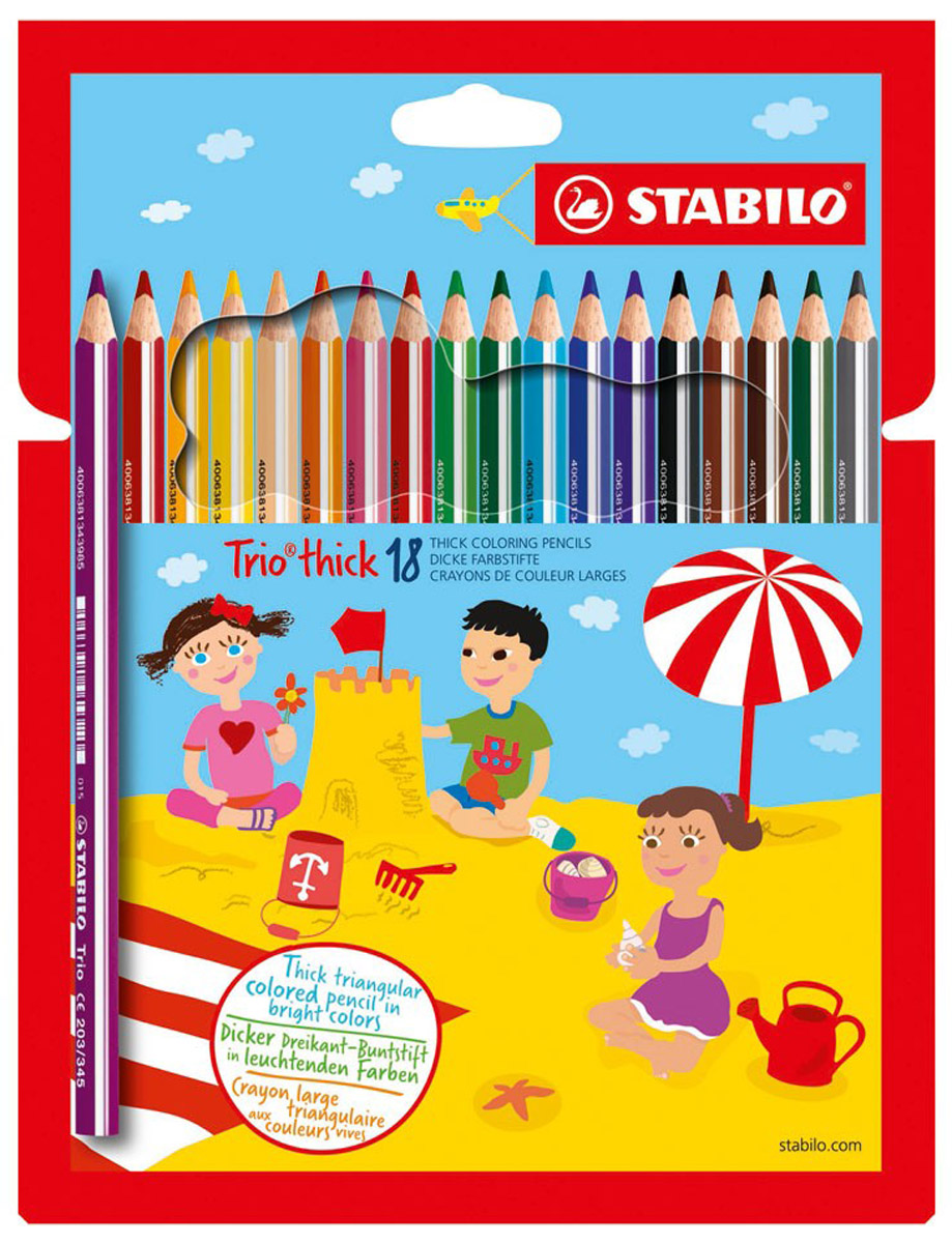 Stabilo Набор цветных карандашей Trio 18 цветов203/18-01_мультиколорНабор Stabilo Trio из 18 укороченных карандашей разного цвета подходит для самых маленьких детей, которые только начинают рисовать.Трехгранная форма карандаша предотвращает усталость детской руки при рисовании и позволяет привить ребенку навык правильно держатьпишущий инструмент.Подходят для правшей и для левшей. Утолщенный эргономичный грифель, устойчивый к поломкам.