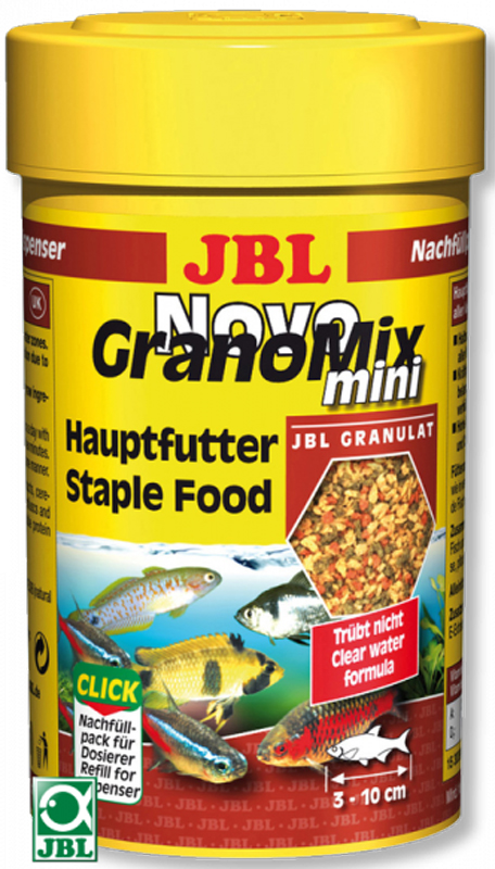 Основной корм для маленьких рыб JBL NovoGranoMix mini, в форме смеси мини-гранул, 5,5 лJBL3011100JBL NovoGranoMix mini - Основной корм в форме смеси мини-гранул для маленьких рыб, 5,5 л.