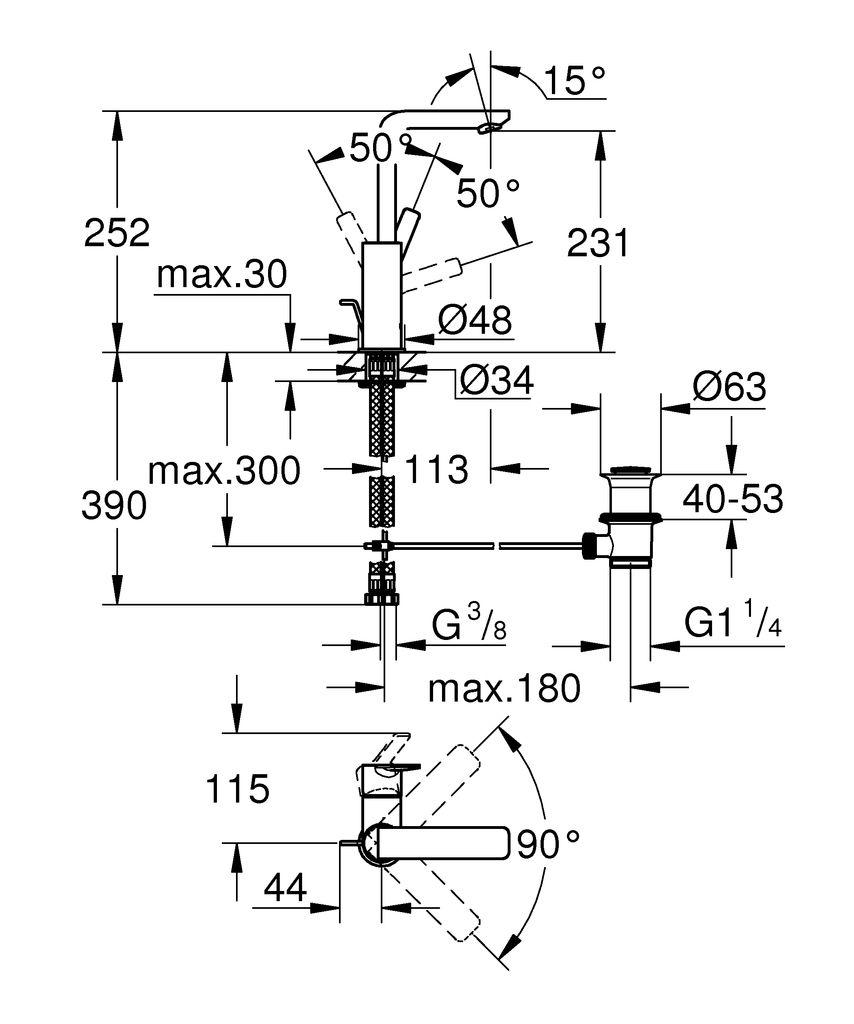"""Однорычажный смеситель для раковины GROHE Lineare со стандартным высоким изливом - элегантность и водосберегающие функции!   монтаж на одно отверстие  металлический рычаг  GROHE SilkMove керамический картридж 28 мм  с ограничителем температуры  GROHE StarLight хромированная поверхность  GROHE EcoJoy SpeedClean аэратор с ограничением расхода воды 5,7 л/мин  GROHE QuickFix Plus Монтажная система  поворотный излив с аэратором и стопором  сливной гарнитур 1 1/4""""  гибкая подводка  минимальное давление 1,0 бар"""