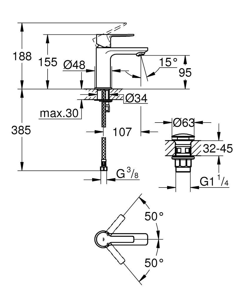 """Хромировванный смеситель для раковины Grohe """"Lineare New"""" монтируется на одно отверстие. Включает в себя:- металлический рычаг GROHE SilkMove- керамический картридж 28 мм с ограничителем температуры GROHE StarLightGROHE EcoJoy SpeedClean- аэратор с ограничением расхода воды 5,7 л/мин GROHE QuickFix А также монтажную систему, смеситель с гладким корпусом с нажимным донным клапаном 1 1/4"""" и гибкую подводку."""