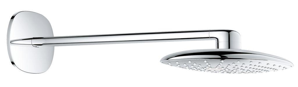 GROHE Rainshower 360 MONO - роскошный набор верхнего душа.   Побалуйте себя идеальным принятием душа вместе с верхним душем GROHE Rainshower XXL овальной формы.   Благодаря технологии GROHE DreamSpray и комфортабельному размеру душа в 360 мм, душ окунет ваше тело в потрясающий водный поток. Вы можете выбрать между двумя режимами струи: расслабляющий режим PureRain и наполненный пузырьками воздуха GROHE Rain O2.  Выполненный в блистательной хромовой поверхности GROHE StarLight, душ потрясающе выглядит и легко чистится.   Душевую поверхность можно снять, а благодаря технологии SpeedClean известь на душевых форсунках никогда не будет проблемой. Н