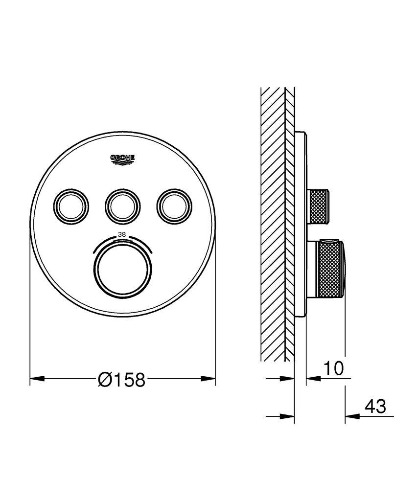 Термостат Grohtherm SmartControl для скрытого монтажа - три выхода  предлагают вам выбор для ультимативно удобного принятия душа и ванны Выберете термостат, который удобен для ежедневного использования.  Термостат скрытого монтажа Grohtherm SmartControl обладает ясным,  космополитичным обликом и позволит вам одновременно контролировать  разные источники воды. Инновационная технология SmartControl позволит вам  регулировать напор воды с помощью нажатия и поворачивания кнопки. Три  вентиля предлагают абсолютное удобство в зависимости от ваших настроен -  вы можете контролировать, переключаться или комбинировать различные  режимы струи и выходы воды, что идеально подойдет для тех, кто хотел бы  использовать ручной, верхний и боковые души, а также ванну.  Встроенная  технология GROHE TurboStat предотвратит неприятные скачки температуры.  Маркировка EasyLogic и иконки на кнопках с заменяемыми символами делают  использование термостата интуитивно понятным. Кнопка SafeStop  позволит вам установить максимальную температуру в 38°C, что предотвратит  ошпаривание, а ограничитель температуры GROHE SafeStop Plus предоставит  опцию увеличить максимум температуры до 43°C для большего уровня  безопасности. Водосберегающая технология GROHE EcoJoy поможет сократить  расход воды без ущерба для комфорта при принятии душа. Благодаря системе  GROHE QuickFix термостат легко установить. Тонкий профиль термостата  делает его поддержание в чистоте очень простым, а надежное хромовое  покрытие GROHE StarLight сохранит свой блеск на долгие годы. Благодаря его  утонченному современному дизайну, термостат сможет усовершенствовать  дизайн вашей ванной комнаты. Пожалуйста, обратите внимание, что этот  продукт должен быть установлен в комбинации с универсальной встраиваемой  частью GROHE Rapido SmartBox (35600000).