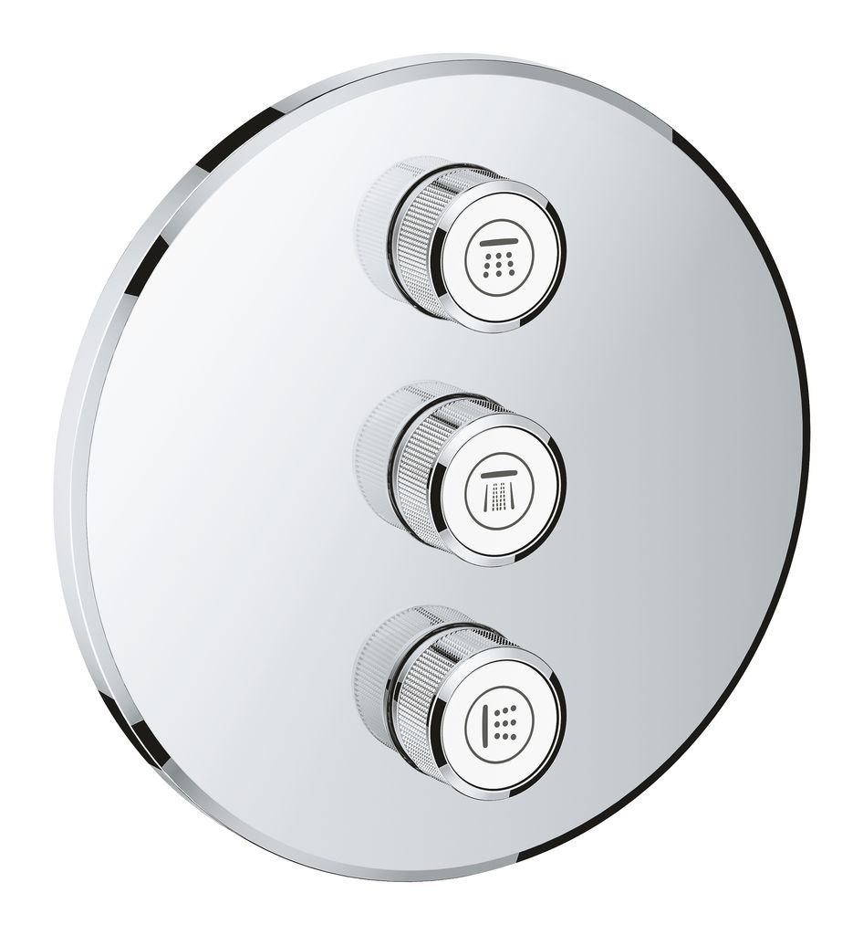 Внешняя панель Grohe Grohtherm SmartControl. 2912200029122000Вентиль Grohtherm SmartControl на три выхода -универсальное решение для ванны и душа мечты. Возьмите душ или ванну под свой контроль вместе с вентилем Grohtherm SmartControl. Совмещенный с термостатом Grohtherm SmartControl на 1 выход (29118000), этот вентиль предоставит вам абсолютную свободу выбора: вы сможете контролировать четыре потребителя для идеального сочетания душа и ванны, что даст вам еще больше вариантов выбора и конфигурации между режимами струи и источниками воды.Инновационная технология SmartControl позволит вам регулировать напор воды с помощью нажатия и поворачивания кнопки. Маркировка EasyLogic и иконки на кнопках с заменяемыми символами делают использование вентиля интуитивно понятным. Благодаря системе GROHE QuickFix вентиль легко установить. Тонкий профиль вентиля делает его поддержание в чистоте очень простым, а надежное хромовое покрытие GROHE StarLight сохранит свой блеск на долгие годы. Благодаря его утонченному современному дизайну, вентиль сможет усовершенствовать дизайн вашей ванной комнаты. Пожалуйста, обратите внимание, что этот продукт должен быть установлен в комбинации с универсальной встраиваемой частью GROHE Rapido SmartBox (35600000) и термостатом скрытого монтажа Grohtherm SmartControl (29118000).
