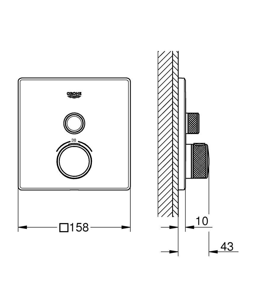 комплект верхней монтажной части дляGROHE Rapido SmartBox 35 600 000металлическая накладная панель с GROHE QuickFix (скрытые эксцентрики, уплотнение, скрытый монтаж), регулируемая на 6°GROHE StarLight хромированная поверхностьSmartControl нажать для вкл/выкл, повернуть для увеличения напора воды от режима EcoJoy до максимального напора водызаменяемые символыGROHE TurboStat встроенный термоэлементстопор безопасности при 38°CGROHE SafeStop Plus (дополнительная опция)дополнительный ограничитель температуры при 43° Cвстроенные обратные клапаны и грязеулавливающие фильтрыбез встроенного механизмараспределение расхода:  выход A (для внешнего отключения) = 34 л/мин  выход B/C = 29 л/мин