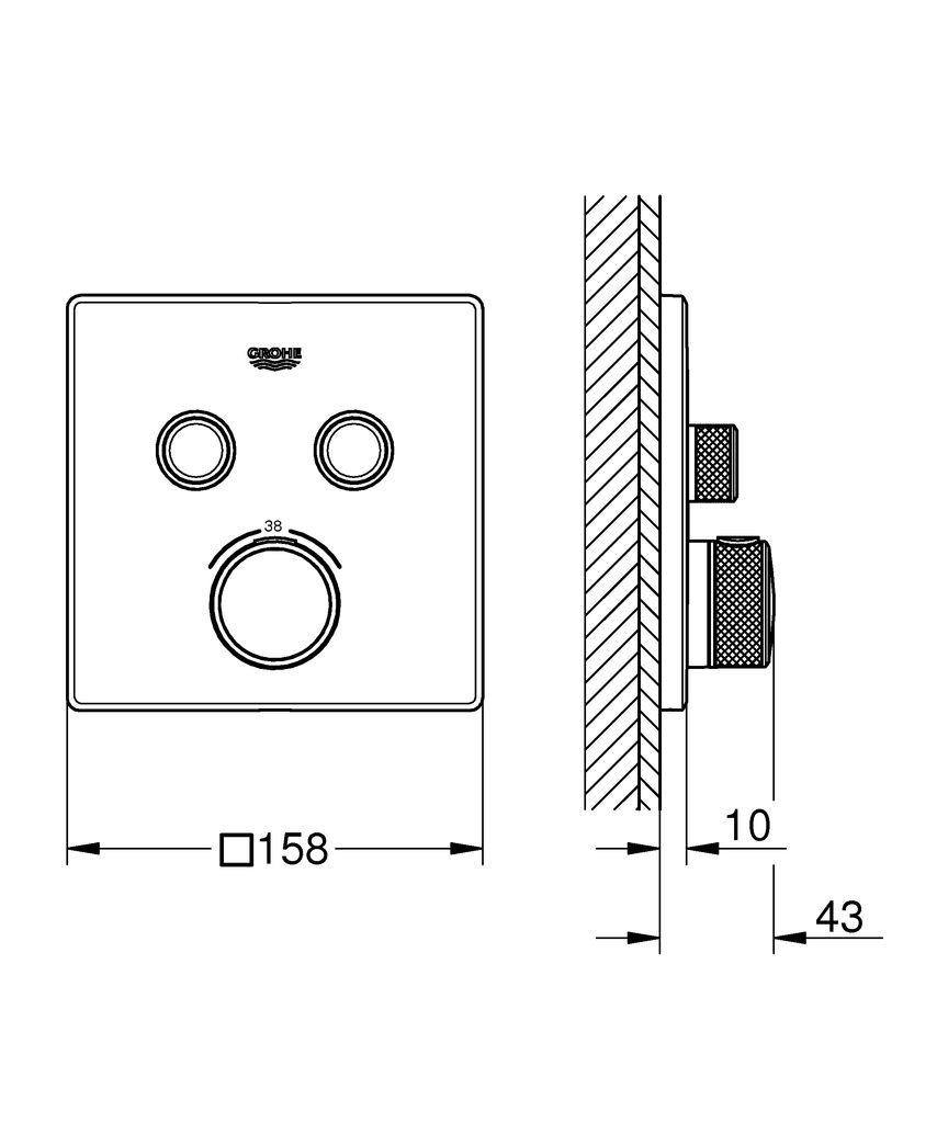 Привнесите легкость и точность в свою ванну и душ вместе с термостатом Grohtherm SmartControl.   Термостат скрытого монтажа Grohtherm SmartControl позволит вам контролировать принятие душа в полной мере.Он привнесет в вашу ванную комнату утонченный стиль и эргономичное управление.   Инновационная технология SmartControl позволит вам регулировать напор воды с помощью нажатия и поворачивания кнопки.   Два вентиля позволят вам переключаться или совмещать верхний и ручной души или душ и ванну.   Встроенная технология GROHE TurboStat предотвратит неприятные скачки температуры. Маркировка EasyLogic и иконки на кнопках с заменяемыми символами делают использование термостата интуитивно понятным.   Кнопка GROHE SafeStop позволит вам установить максимальную температуру в 38°C, что предотвратит ошпаривание, а ограничитель температуры GROHE SafeStop Plus предоставит опцию увеличить максимум температуры до 43°C для большего уровня безопасности.   Водосберегающая технология GROHE EcoJoy поможет сократить расход воды без ущерба для комфорта при принятии душа.   Благодаря системе GROHE QuickFix термостат легко установить.   Тонкий профиль термостата делает его поддержание в чистоте очень простым, а надежное хромовое покрытие GROHE StarLight сохранит свой блеск на долгие годы. Благодаря его утонченному современному дизайну, термостат сможет усовершенствовать дизайн вашей ванной комнаты. Пожалуйста, обратите внимание, что этот продукт должен быть установлен в комбинации с универсальной встраиваемой частью GROHE Rapido SmartBox (35600000).