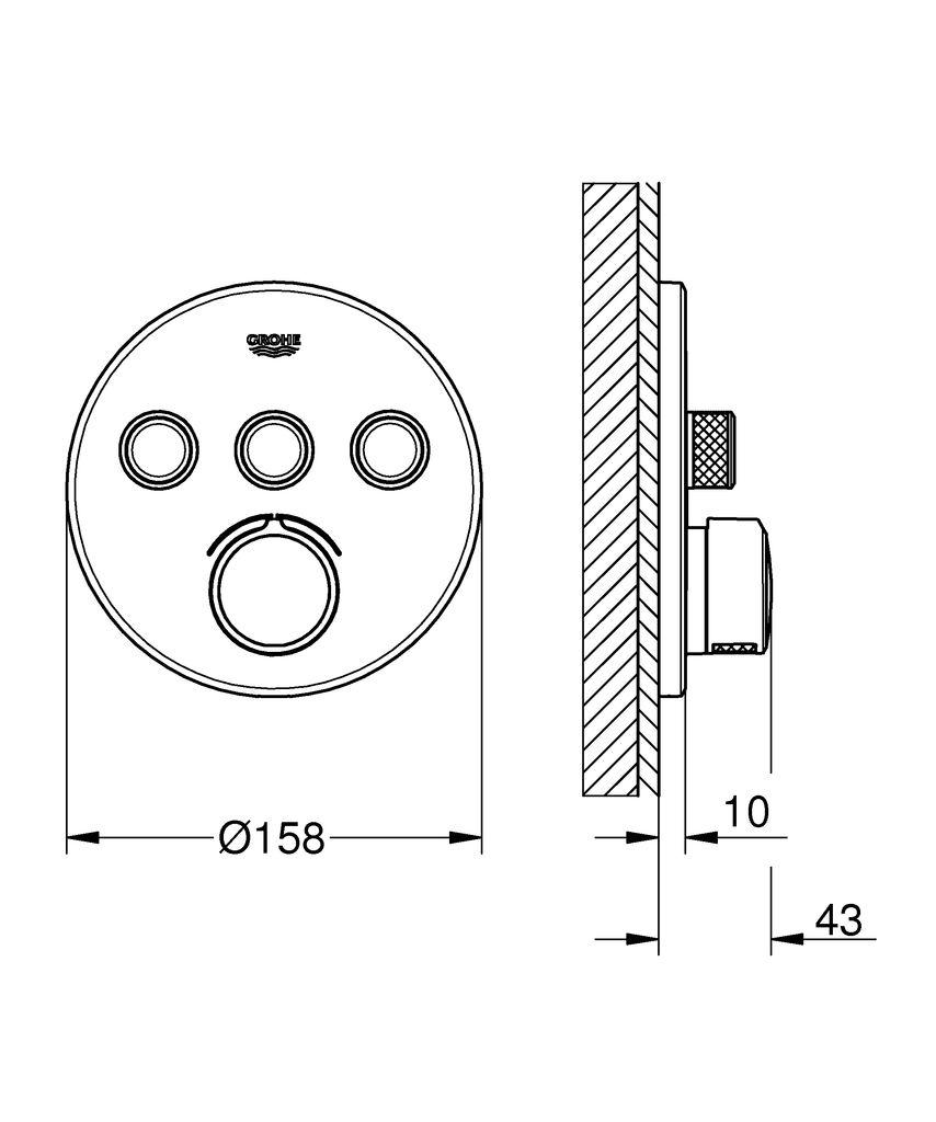 Комплект верхней монтажной части для GROHE: Металлическая накладная панель с GROHE QuickFix (скрытые эксцентрики, уплотнение, скрытый монтаж), регулируемая на 6° GROHE StarLight.  Хромированная поверхность SmartControl:  -нажать для вкл/выкл,  -повернуть для увеличения напора воды от режима EcoJoy до максимального напора воды,  -заменяемые символы картриджа для смешивания воды,  -возможность одновременного включения нескольких точек водоотвода без встроенного механизма распределение расхода: выход A = 22 л/мин; выход B = 26 л/мин; выход C = 22 л/мин.