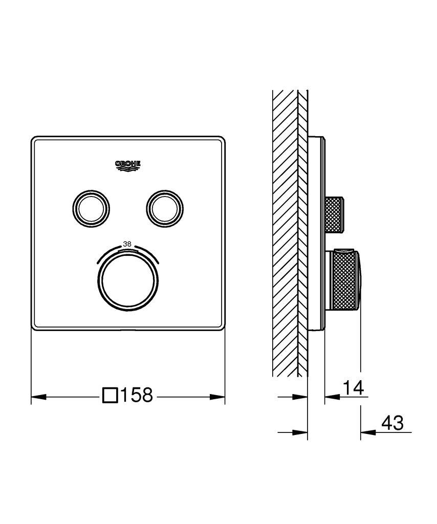 Термостат скрытого монтажа Grohtherm SmartControl позволит вам  контролировать принятие душа в полной мере.Он привнесет в вашу ванную  комнату утонченный стиль и эргономичное управление.   Инновационная технология SmartControl позволит вам регулировать напор  воды с помощью нажатия и поворачивания кнопки.   Два вентиля позволят вам переключаться или совмещать верхний и ручной  души или душ и ванну.   Встроенная технология GROHE TurboStat предотвратит неприятные скачки  температуры. Маркировка EasyLogic и иконки на кнопках с заменяемыми  символами делают использование термостата интуитивно понятным.    Кнопка GROHE SafeStop позволит вам установить максимальную  температуру в 38°C, что предотвратит ошпаривание, а ограничитель  температуры GROHE SafeStop Plus предоставит опцию увеличить максимум  температуры до 43°C для большего уровня безопасности.   Водосберегающая технология GROHE EcoJoy поможет сократить расход  воды без ущерба для комфорта при принятии душа.   Благодаря системе GROHE QuickFix термостат легко установить.   Тонкий профиль термостата делает его поддержание в чистоте очень  простым, а надежное хромовое покрытие GROHE StarLight сохранит свой  блеск на долгие годы. Благодаря его утонченному современному дизайну,  термостат сможет усовершенствовать дизайн вашей ванной комнаты.