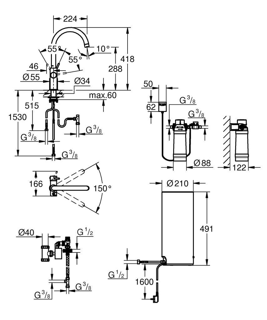 включает в себя:   GROHE Red Duo однорычажный смеситель для мойки  монтаж на одно отверстие  C-излив  GROHE ChildLock кнопка для безопасного открывания кипящей воды  Тройная защита от случайной активации кипящей воды  GROHE StarLight хромированная поверхность  GROHE SilkMove керамический картридж 28 мм  GROHE CoolTouch  Теплоизолированный трубкообразный излив  область поворота 150°  раздельные водотоки внутри излива  гибкие соединительные шланги  подключение для бойлера GROHE Red  GROHE Red бойлер L-size  резервуар для кипящей и горячей воды  5.5 литров 100° C кипящей воды  Общая емкость 7 литров  давление: 1-7 бар  гибкие шланги подключения и выход для кипящей воды  Одобрено в СE  напряжение подключения 230 V 50 Hz  потребляемая мощность 2100 Вт  потребляемая мощность в режиме ожидания 15 Вт  класс энергопотребления А  GROHE Red Фильтр с головкой для фильтра  для защиты бойлера от накипи  Объем 600 л при 15° dKH  5-ступенчатый фильтр  счетчик расхода фильтрованной воды