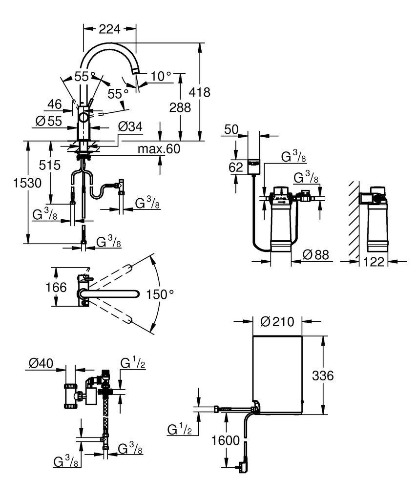 включает в себя:   GROHE Red Duo однорычажный смеситель для мойки  монтаж на одно отверстие  C-излив  GROHE ChildLock кнопка для безопасного открывания кипящей воды  Тройная защита от случайной активации кипящей воды  GROHE StarLight хромированная поверхность  GROHE SilkMove керамический картридж 28 мм  GROHE CoolTouch  Теплоизолированный трубкообразный излив  область поворота 150°  раздельные водотоки внутри излива  гибкие соединительные шланги  подключение для бойлера GROHE Red  GROHE Red бойлер M-size  резервуар для кипящей и горячей воды  3 литра 100° C кипящей воды  Общая емкость 4 литра  давление: 1-7 бар  гибкие шланги подключения и выход для кипящей воды  Одобрено в СE  напряжение подключения 230 V 50 Hz  потребляемая мощность 2100 Вт  потребляемая мощность в режиме ожидания 15 Вт  класс энергопотребления А  GROHE Red Фильтр с головкой для фильтра  для защиты бойлера от накипи  Объем 600 л при 15° dKH  5-ступенчатый фильтр  счетчик расхода фильтрованной воды