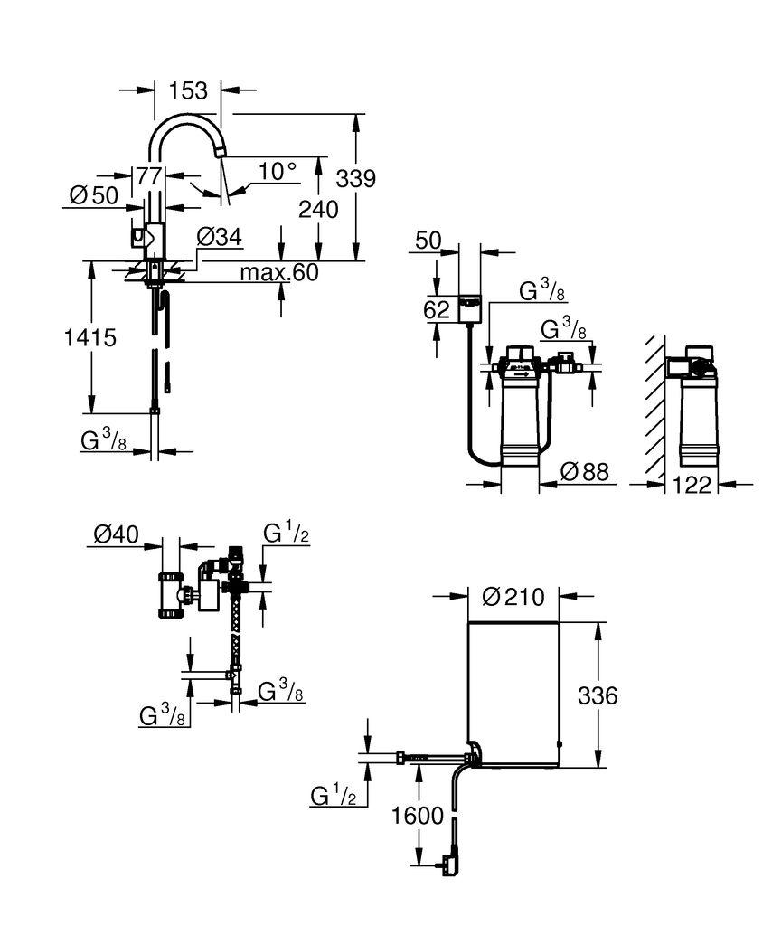 Новый вентиль для кухни GROHE Red Mono предлагает опцию получения кипятка прямо из крана, чтобы упростить рутинные кухонные задачи.   Избавьтесь от своего чайника и всех хлопот, которые влечет за собой его использование, установив вентиль GROHE Red Mono, который предоставит вам воду, мгновенно нагретую до 100°.   Спроектированный, чтобы отлично смотреться рядом с вашим смесителем GROHE Blue или стандартным смесителем для кухни, этот вентиль выполнен в утонченном, минималистичном дизайне.   Кипяток отлично подходит для заваривания чая и кофе, а также для приготовления пищи и наполнения кастрюль.   Функция подачи кипятка активируется с помощью нажатия на кнопку, которая защищена от использования детьми. Высокий С-образный излив делает наполнение больших емкостей простым, а угол его поворота может быть зафиксирован в точках 0°/150°/360°, что увеличивает удобство использования.   При использовании этого продукта главное - безопасность: благодаря автоматической блокировке GROHE ChildLock ребенок не сможет случайно открыть воду и обжечься.   Разряд энергоэффективности продукта - A, что позволяет перевести бойлер в режим каникул - в этом состоянии температура воды будет ограничена 60° C.   Способный мгновенно предоставить до 3 л кипятка, бойлер сделан из титана для превосходной защиты от коррозии, а ослепительное хромовое покрытие GROHE StarLight останется таким же великолепным в течение долгих лет.   Фильтр GROHE Red очищает воду от тяжелых металлов и извести, увеличивая срок жизни как бойлера, так и смесителя.   Покупателям также будет интересно приобрести смешивающий вентиль Coldfill (40841001) на замену кухонных смесителей для открытых водонагревателей.   Вентиль смешивает холодную воду с кипятком, мгновенно предоставляя вам теплую воду. Это означает, что вам больше не нужно будет ждать, пока вода нагреется и, как следствие, вы потратите меньше воды.