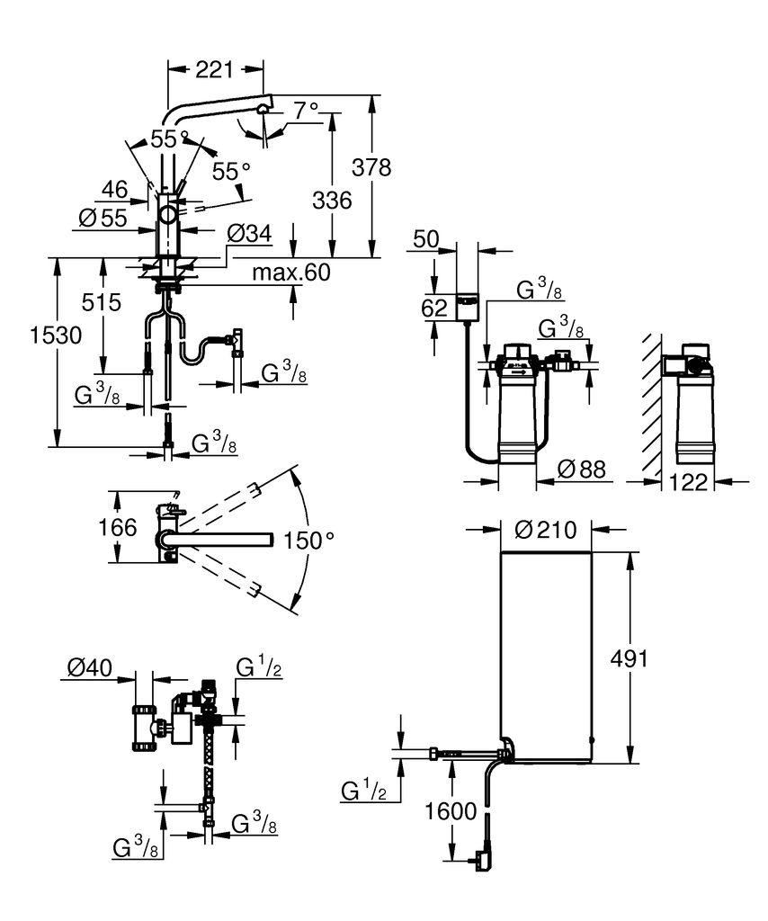включает в себя:   GROHE Red Duo однорычажный смеситель для мойки  монтаж на одно отверстие   L-излив  GROHE ChildLock кнопка для безопасного открывания кипящей воды  Тройная защита от случайной активации кипящей воды   GROHE StarLight хромированная поверхность  GROHE SilkMove керамический картридж 28 мм  GROHE CoolTouch  Теплоизолированный трубкообразный излив  область поворота 150°  раздельные водотоки внутри излива  гибкие соединительные шланги  подключение для бойлера GROHE Red  GROHE Red бойлер L-size  резервуар для кипящей и горячей воды  5.5 литров 100° C кипящей воды  Общая емкость 7 литров  давление: 1-7 бар  гибкие шланги подключения и выход для кипящей воды  Одобрено в СE  напряжение подключения 230 V 50 Hz  потребляемая мощность 2100 Вт  потребляемая мощность в режиме ожидания 15 Вт  класс энергопотребления А  GROHE Red Фильтр с головкой для фильтра  для защиты бойлера от накипи  Объем 600 л при 15° dKH  5-ступенчатый фильтр  счетчик расхода фильтрованной воды
